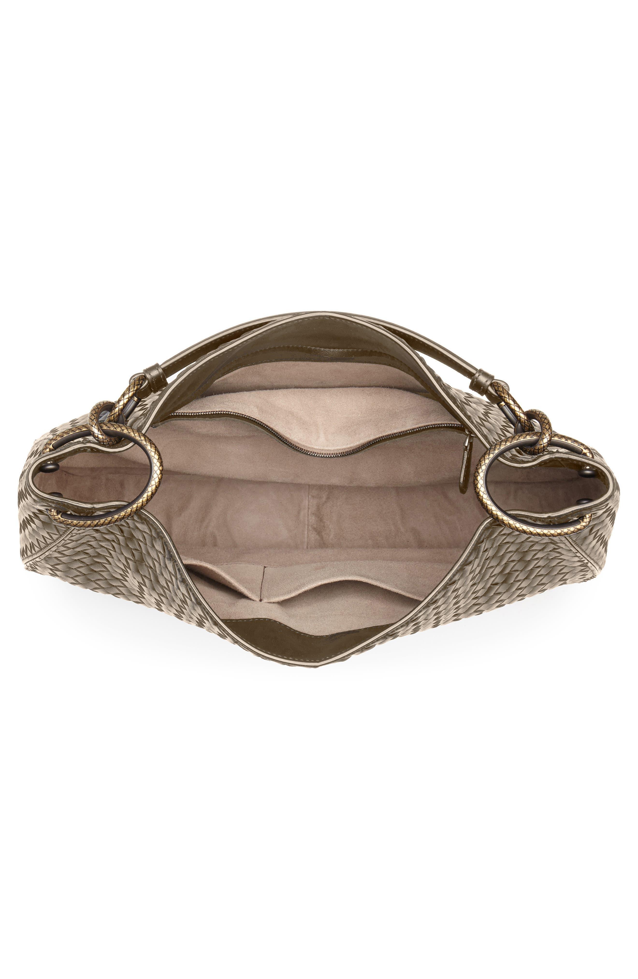BOTTEGA VENETA,                             Large Loop Woven Leather Hobo,                             Alternate thumbnail 4, color,                             LIMESTONE