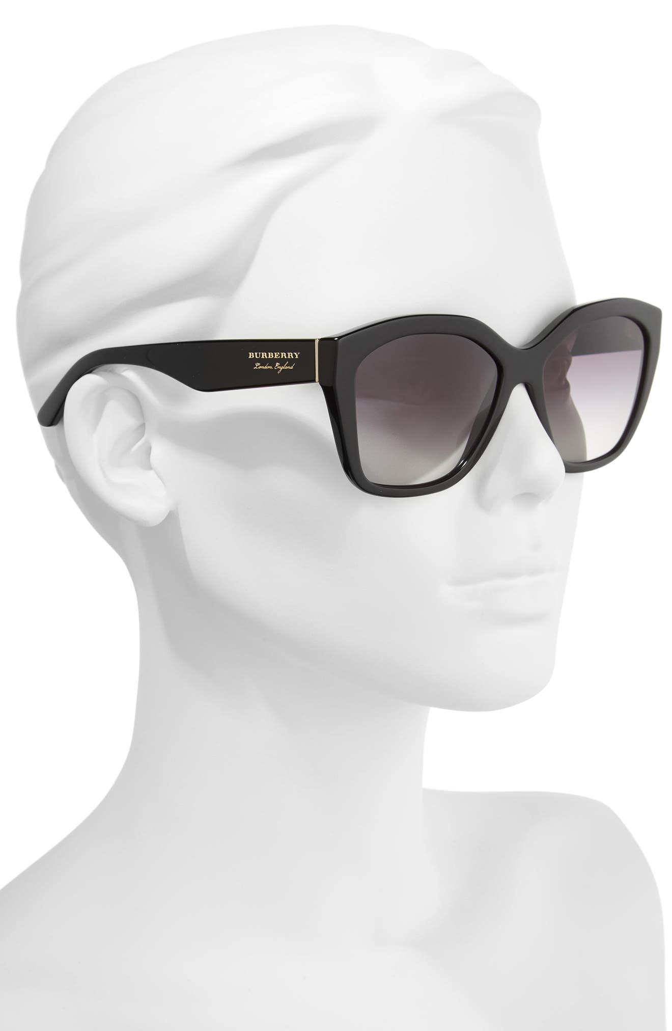 57mm Gradient Sunglasses,                             Alternate thumbnail 3, color,                             BLACK
