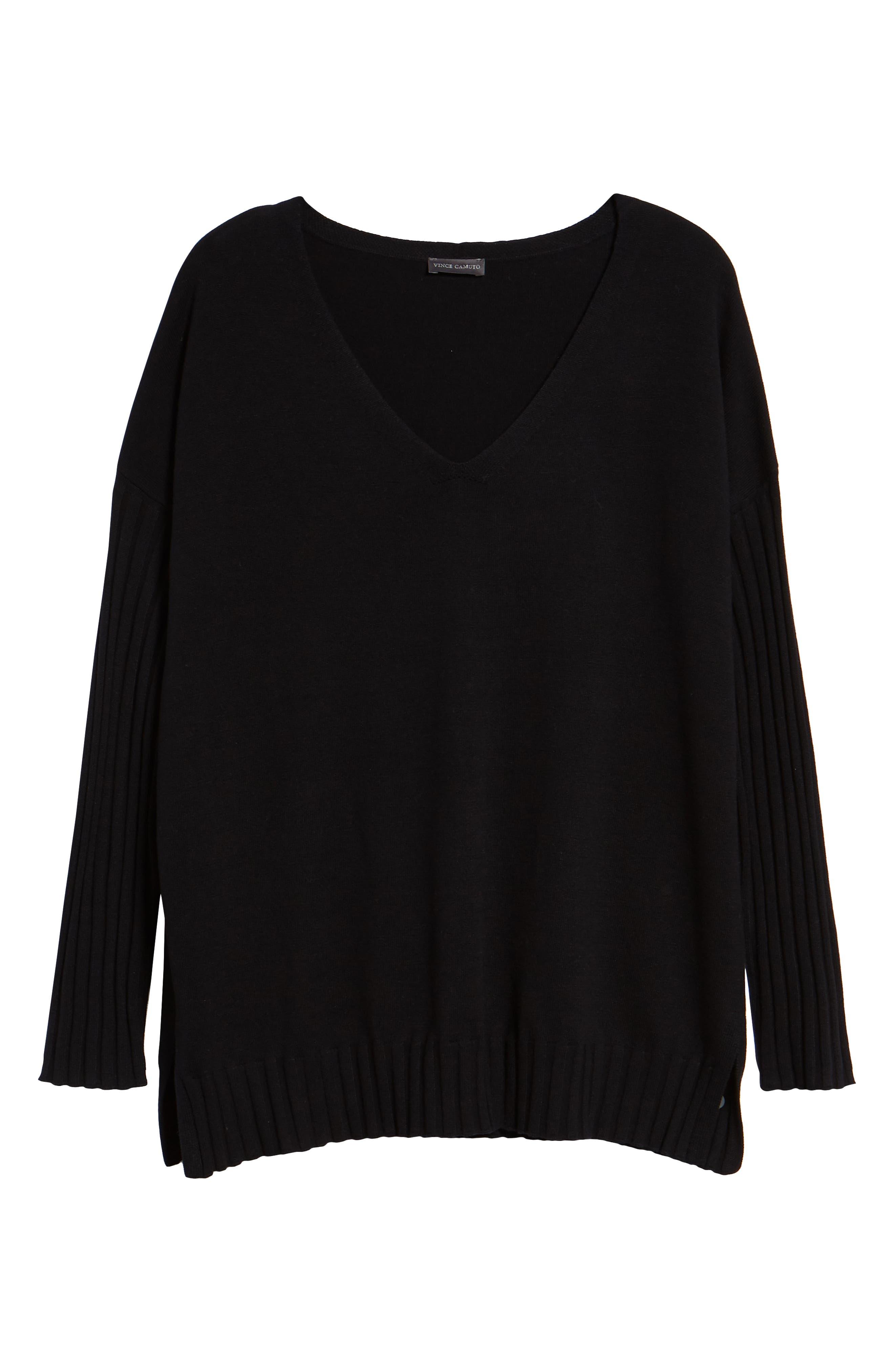 V-Neck Ribbed Sweater,                             Alternate thumbnail 6, color,                             RICH BLACK