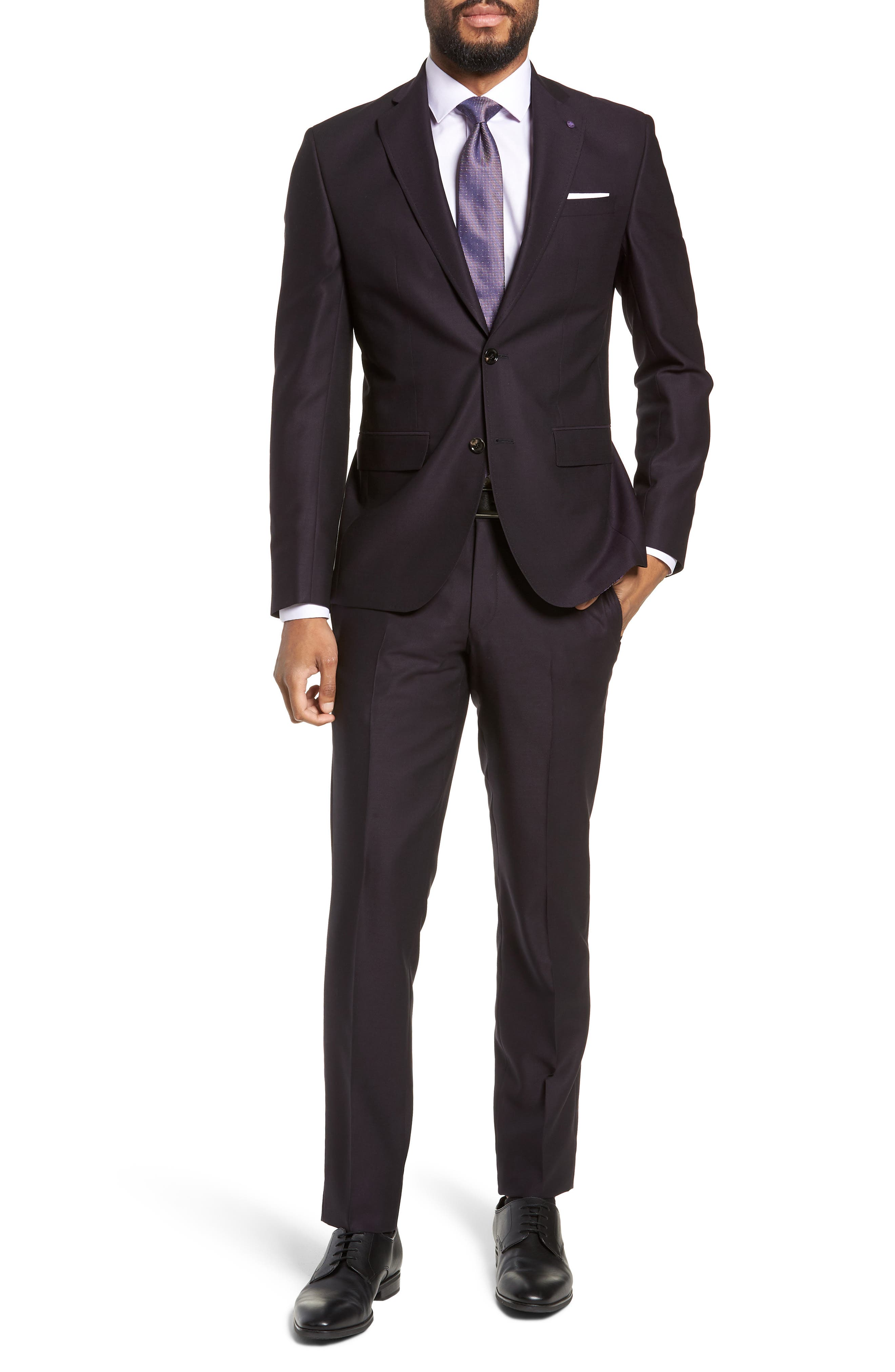 Roger Extra Trim Fit Solid Wool Suit,                             Main thumbnail 1, color,                             DEEP EGGPLANT