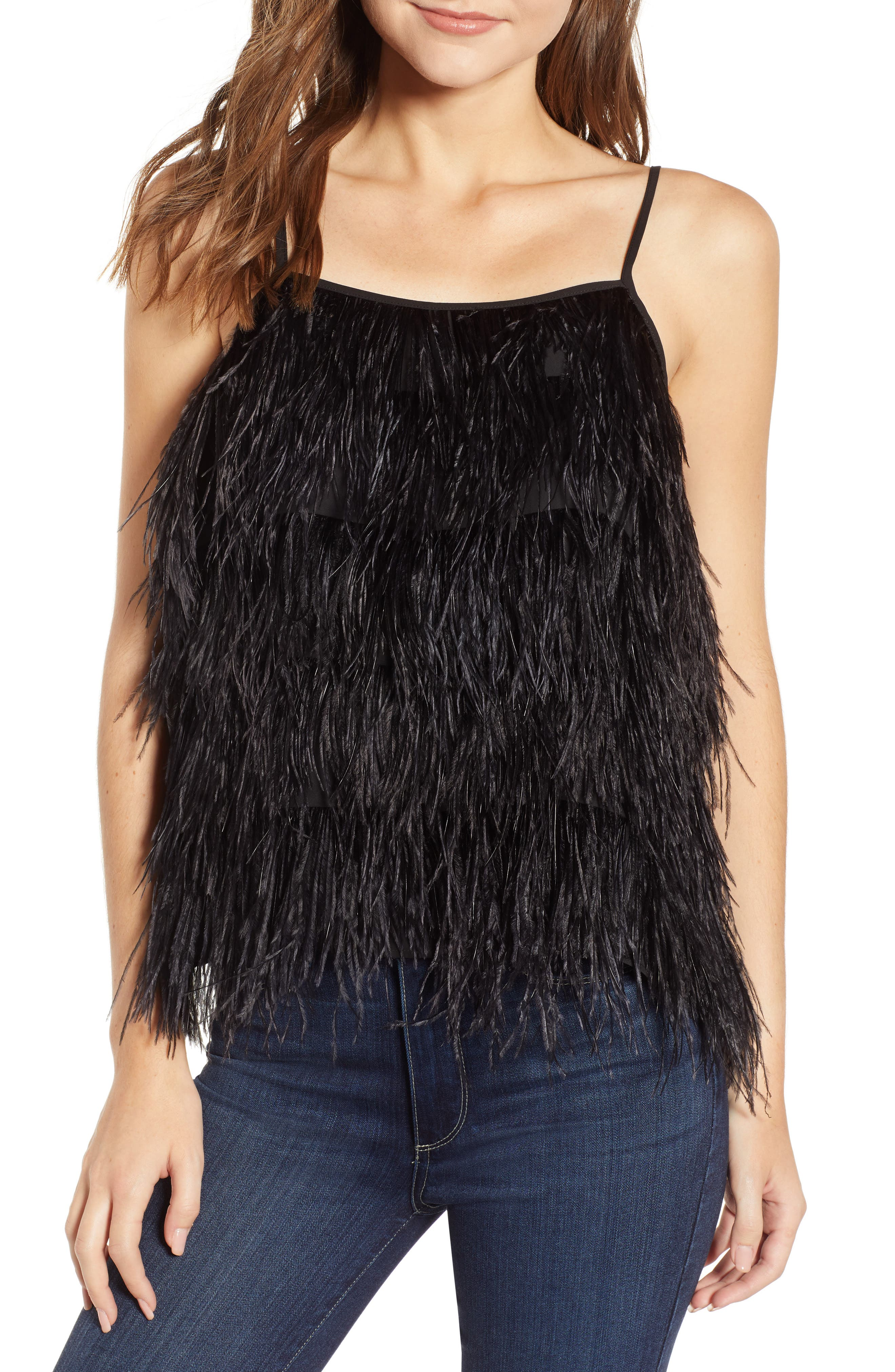Feather Camisole,                         Main,                         color, BLACK