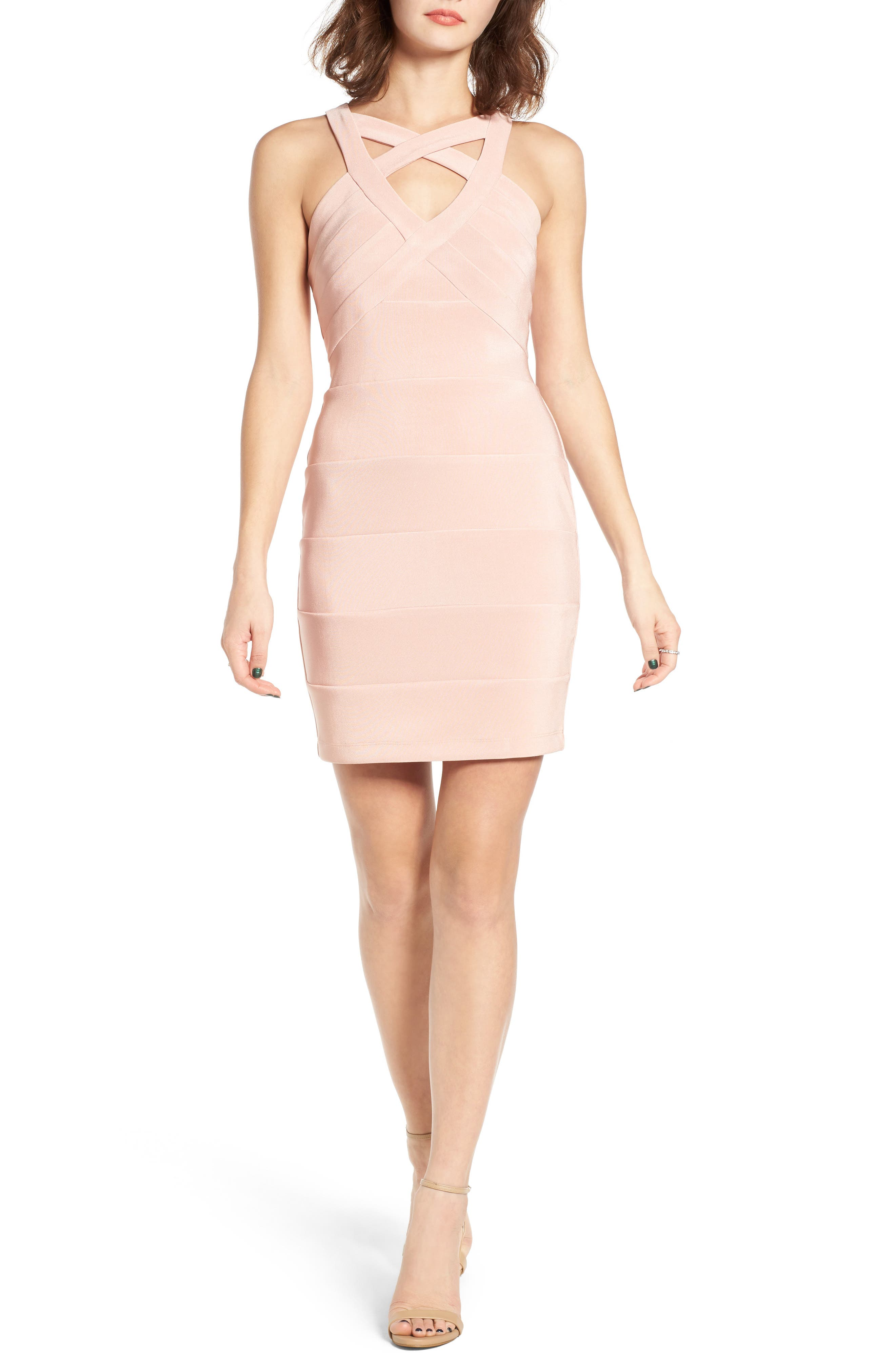 Cross Front Body-Con Dress,                             Alternate thumbnail 8, color,