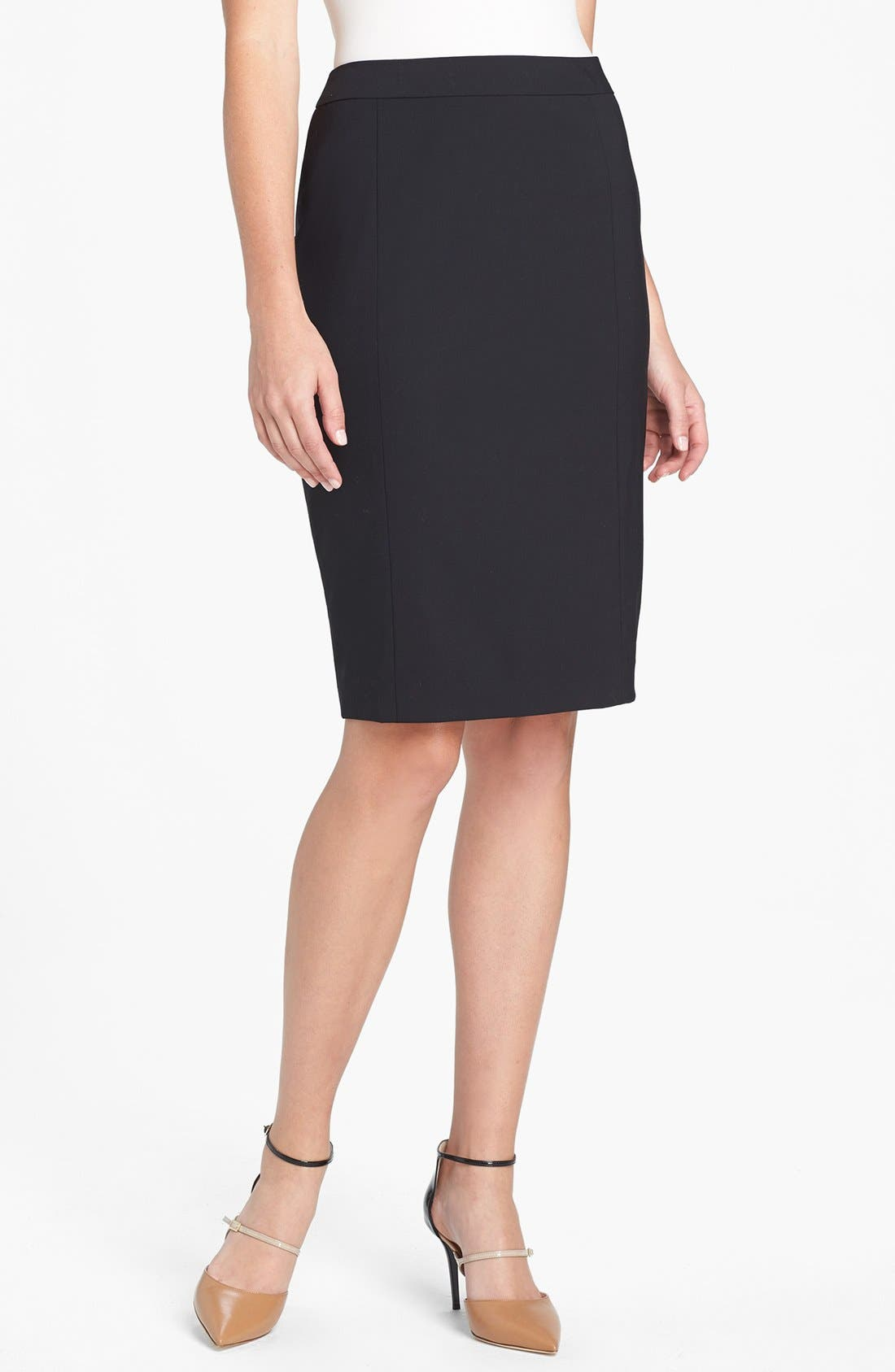 Stretch Wool Pencil Skirt,                             Main thumbnail 1, color,                             BLACK