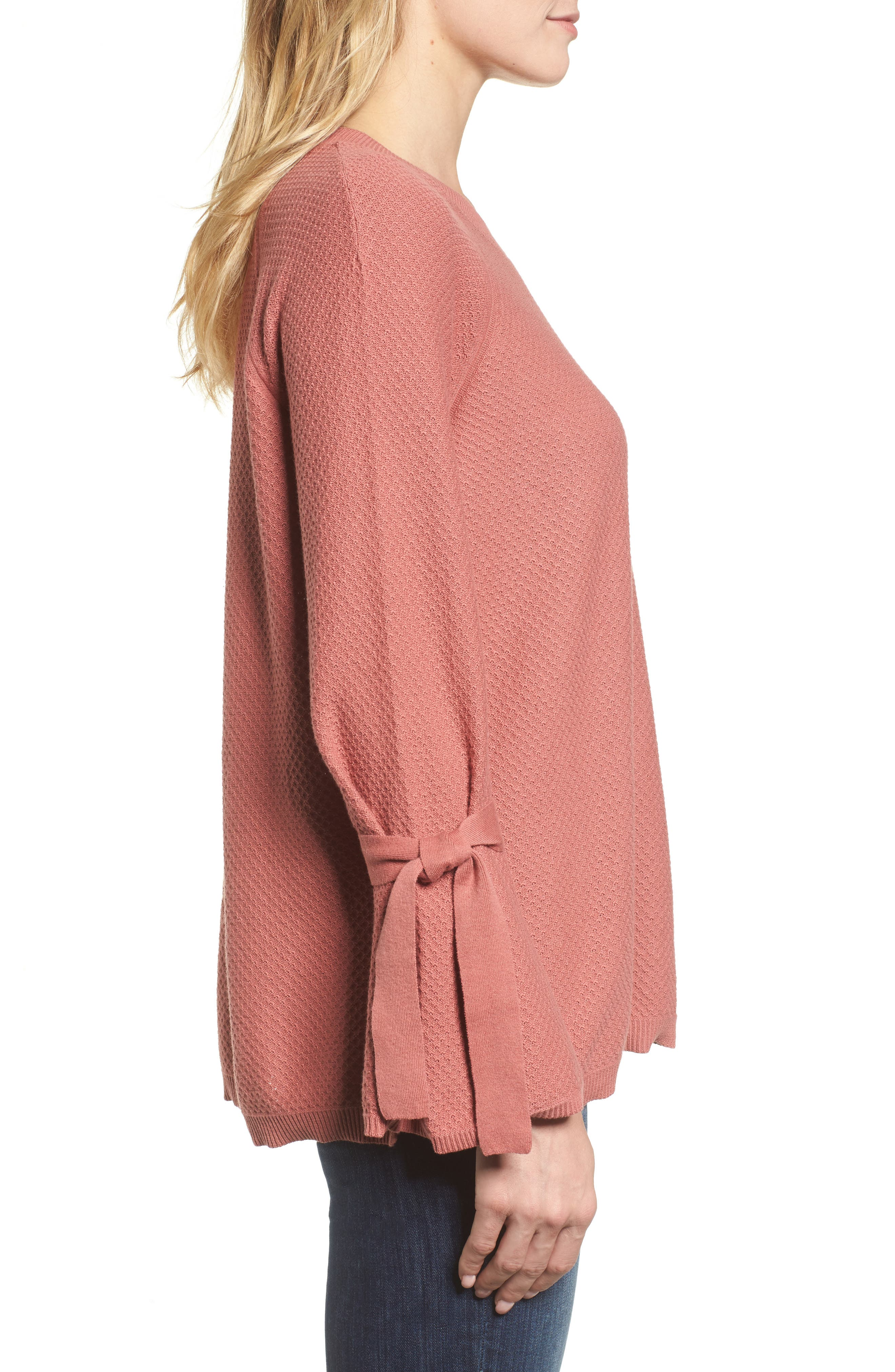Texture Stitch Tie-Sleeve Top,                             Alternate thumbnail 12, color,