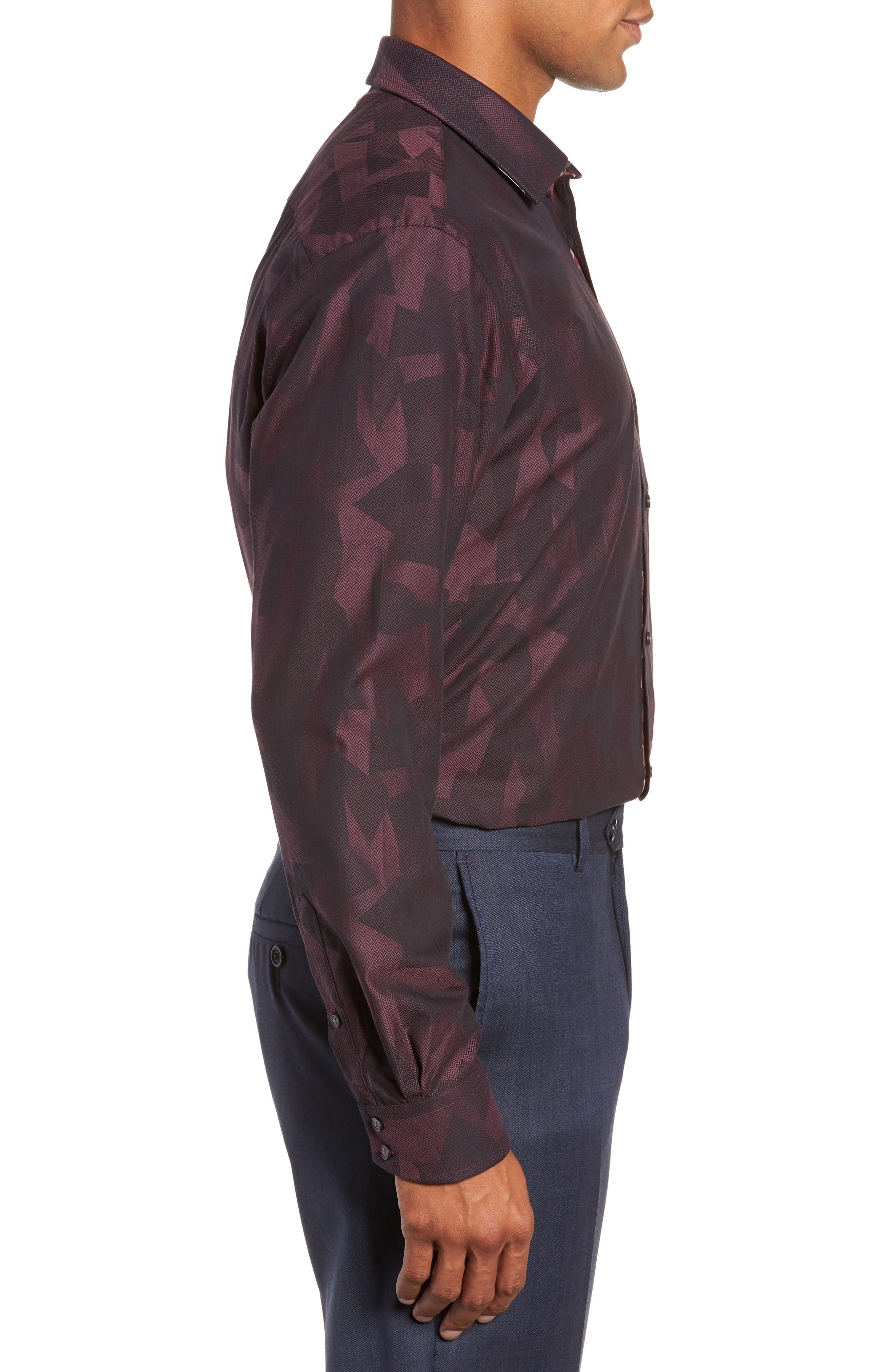 Slissum Slim Fit Print Dress Shirt,                             Alternate thumbnail 4, color,                             DARK RED