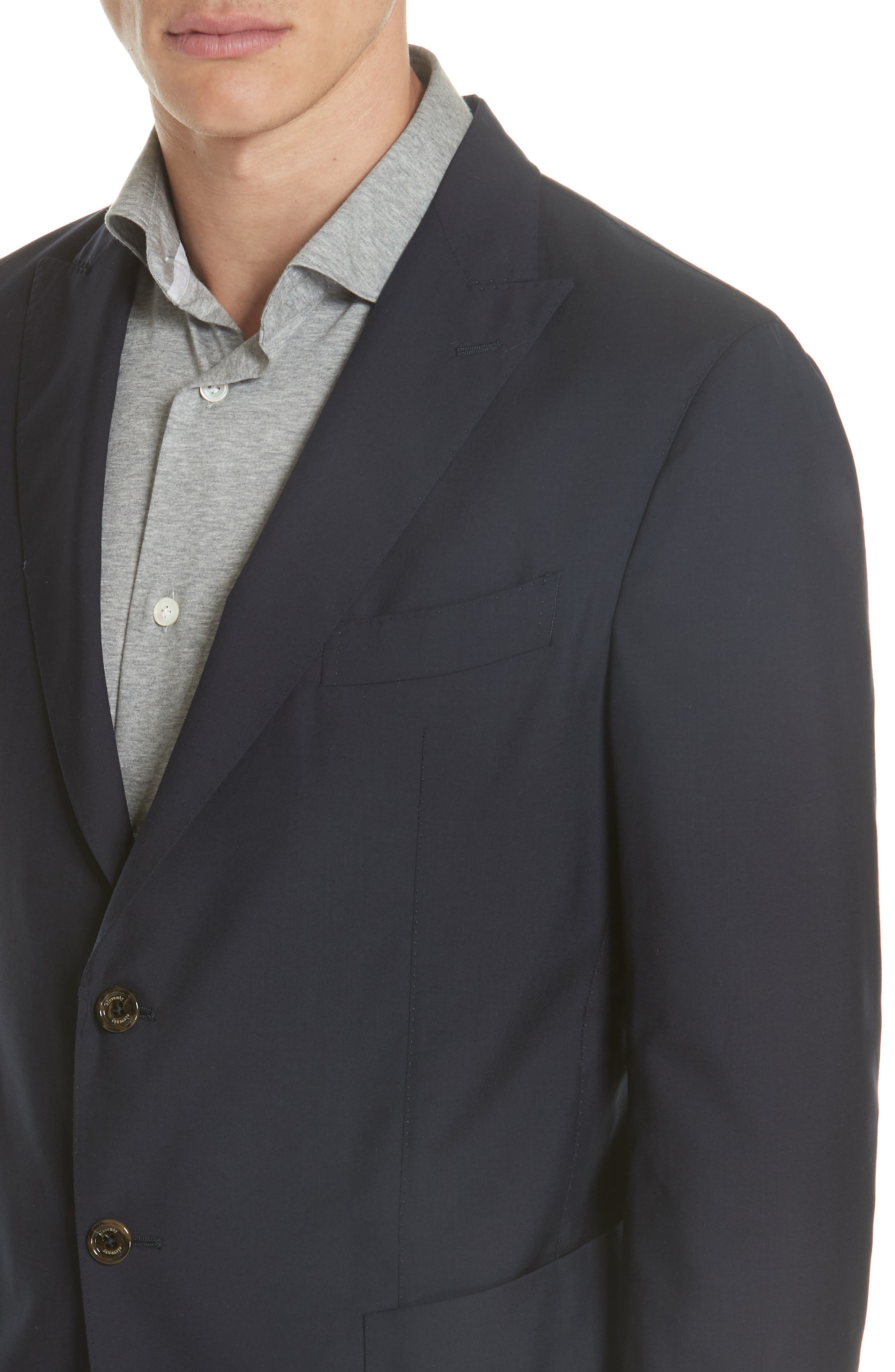 Trim Fit Wool Blazer,                             Alternate thumbnail 4, color,                             400
