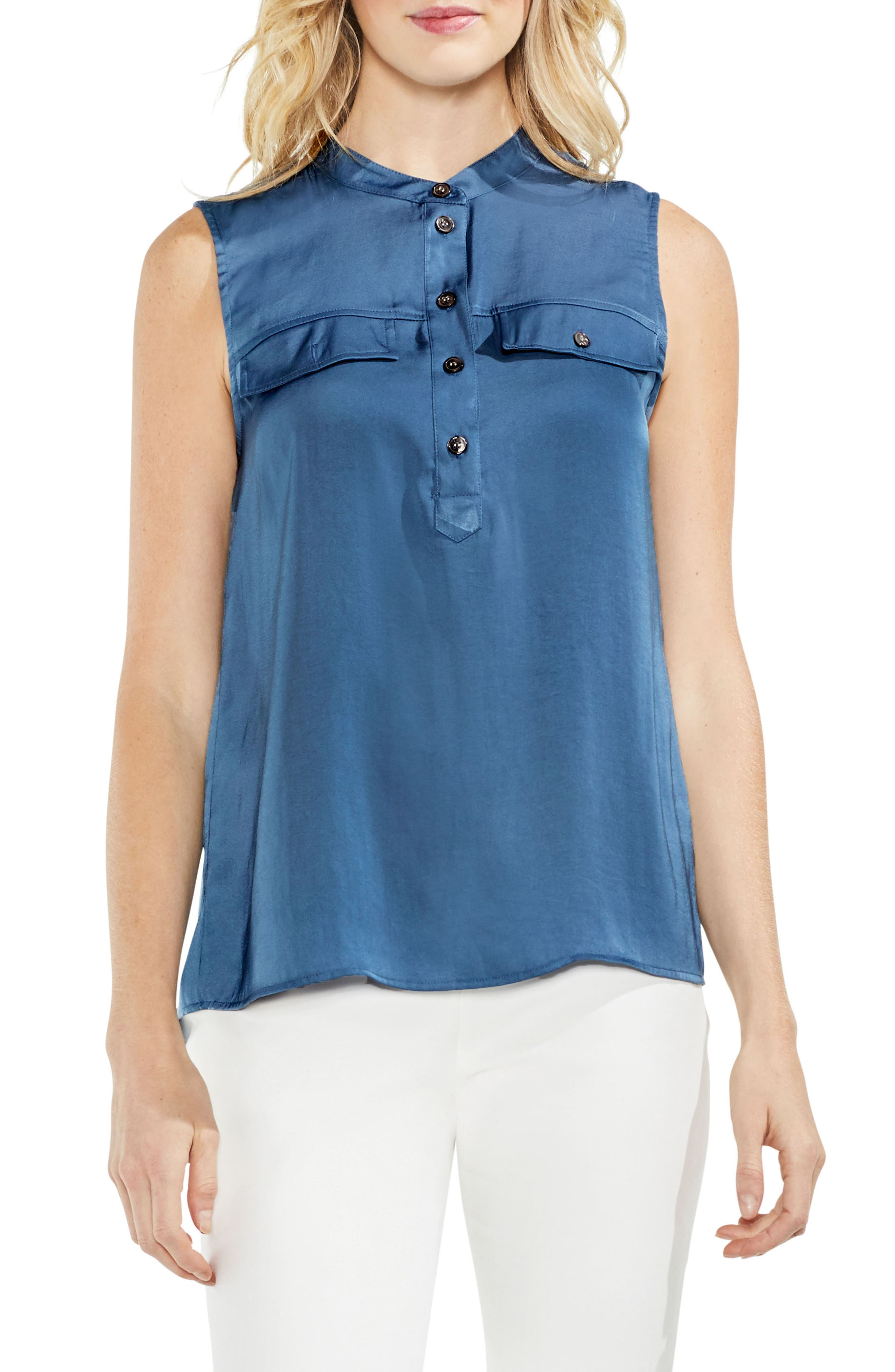 Sleeveless Henley Blouse,                             Main thumbnail 3, color,