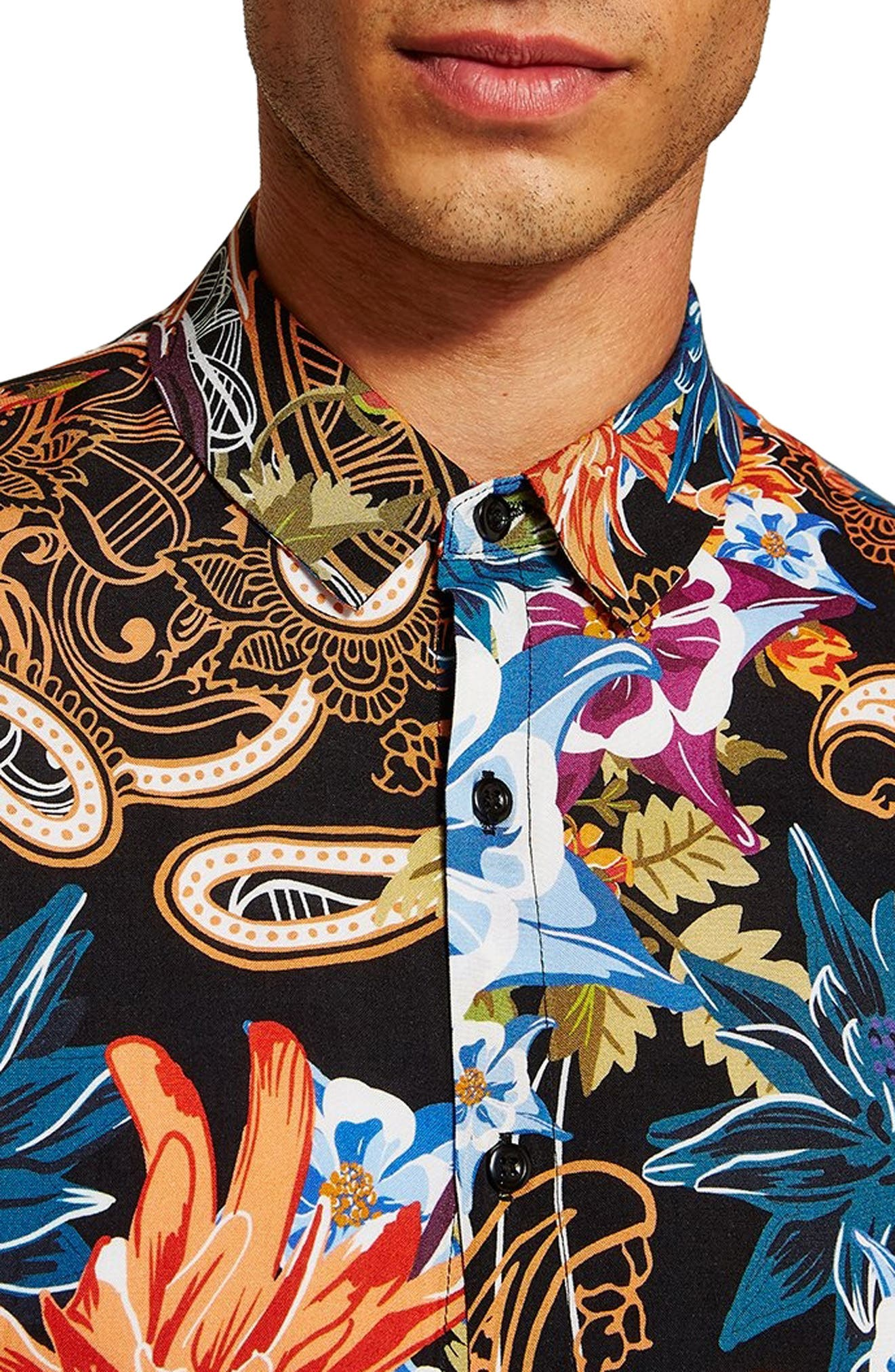 Floral Paisley Shirt,                             Alternate thumbnail 2, color,                             BLACK MULTI