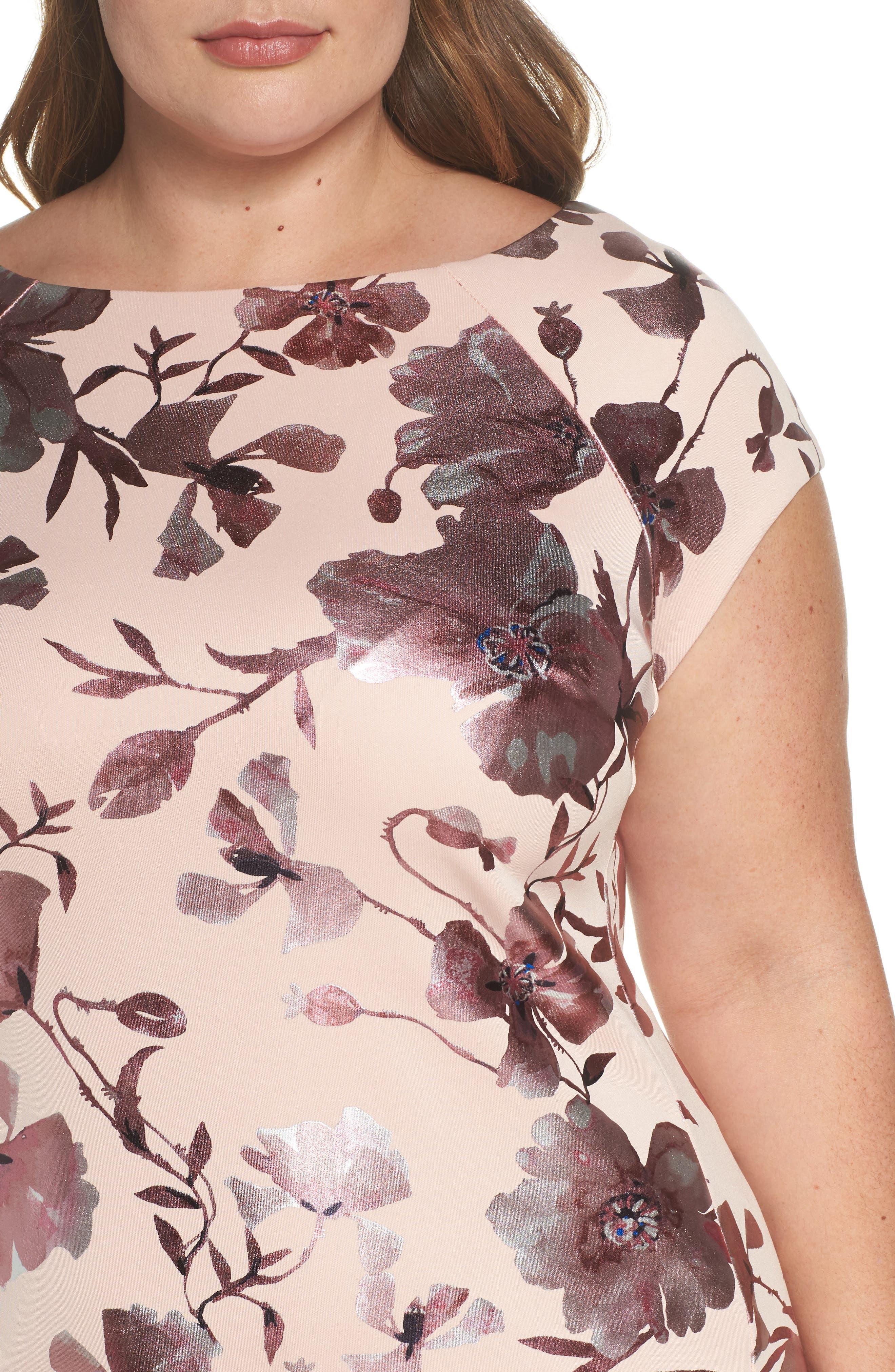 Foil Print Sheath Dress,                             Alternate thumbnail 4, color,                             650