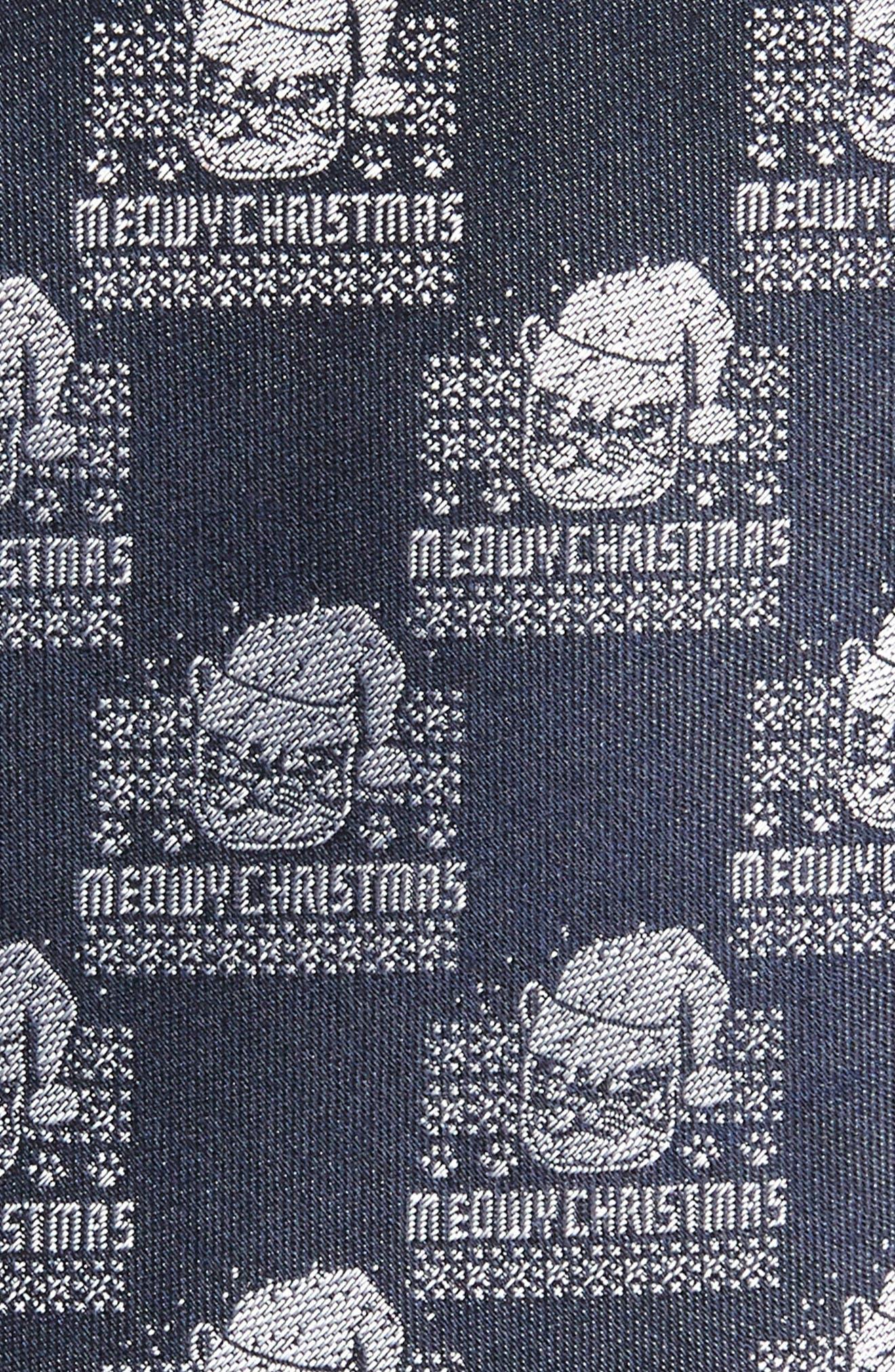 Meowy Christmas Print Silk Tie,                             Alternate thumbnail 2, color,                             NAVY