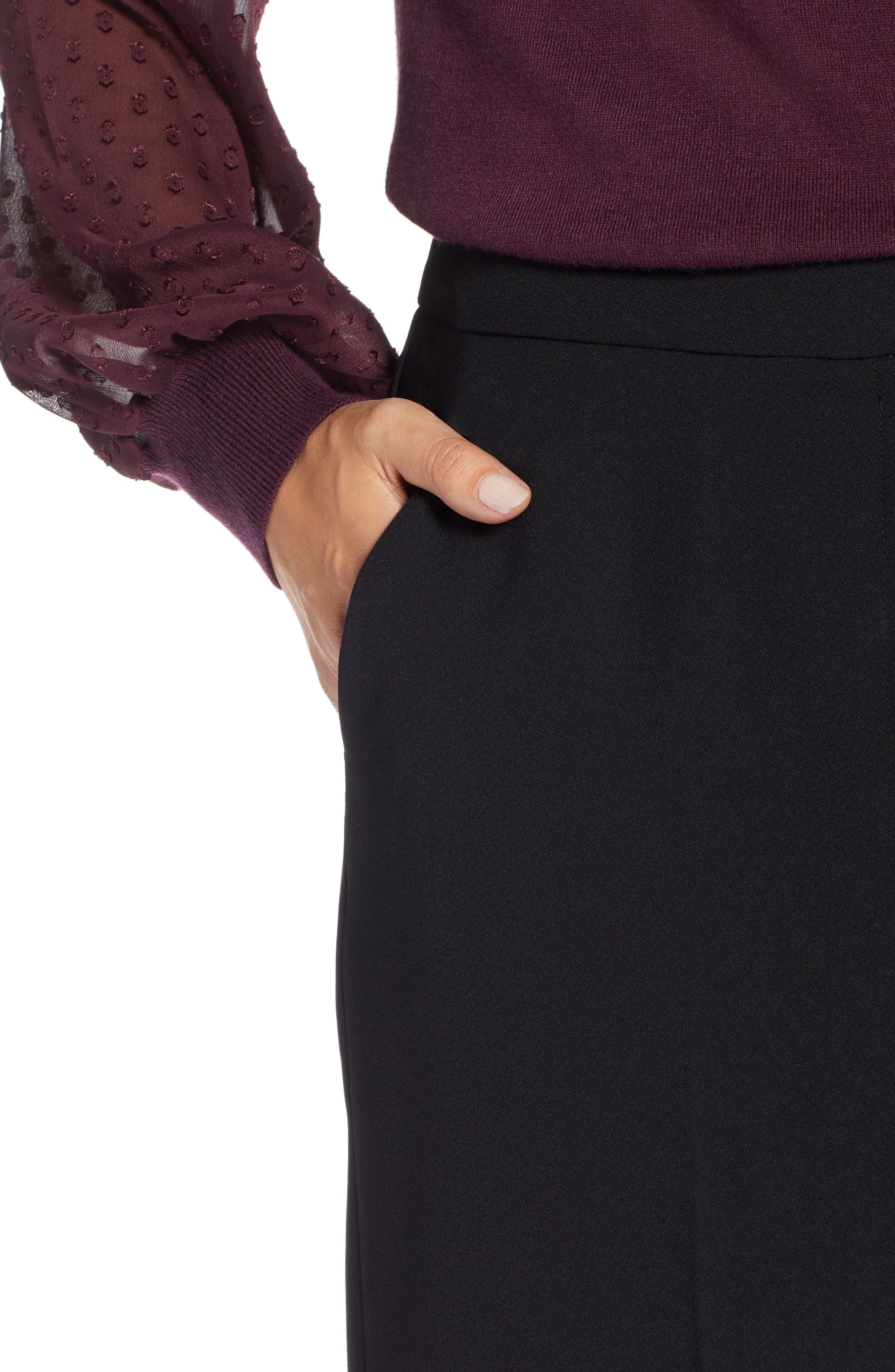 Wide Leg Crop Pants,                             Alternate thumbnail 4, color,                             001