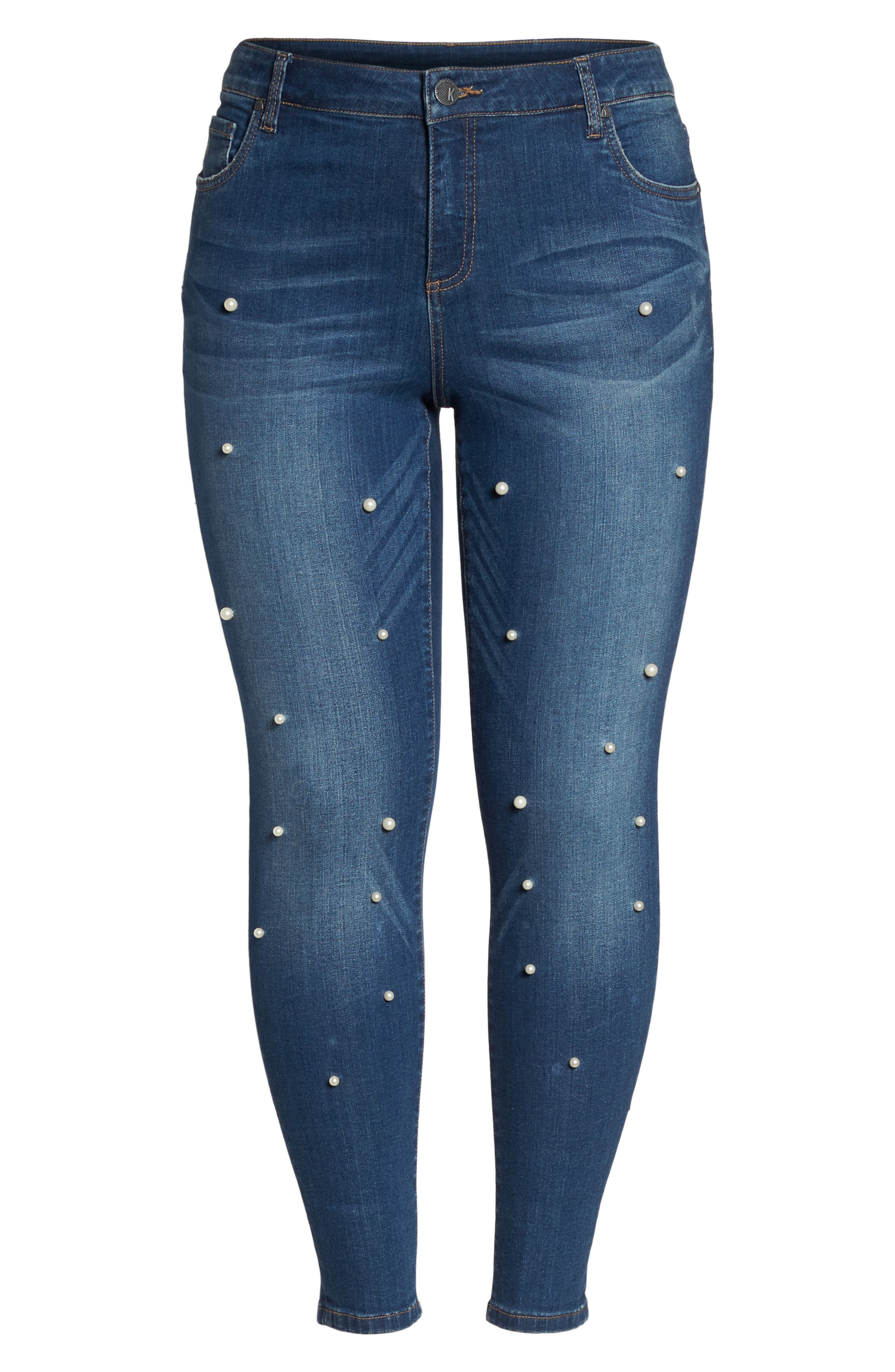 Brigitte Embellished Skinny Ankle Jeans,                             Alternate thumbnail 6, color,                             BEWITCHING