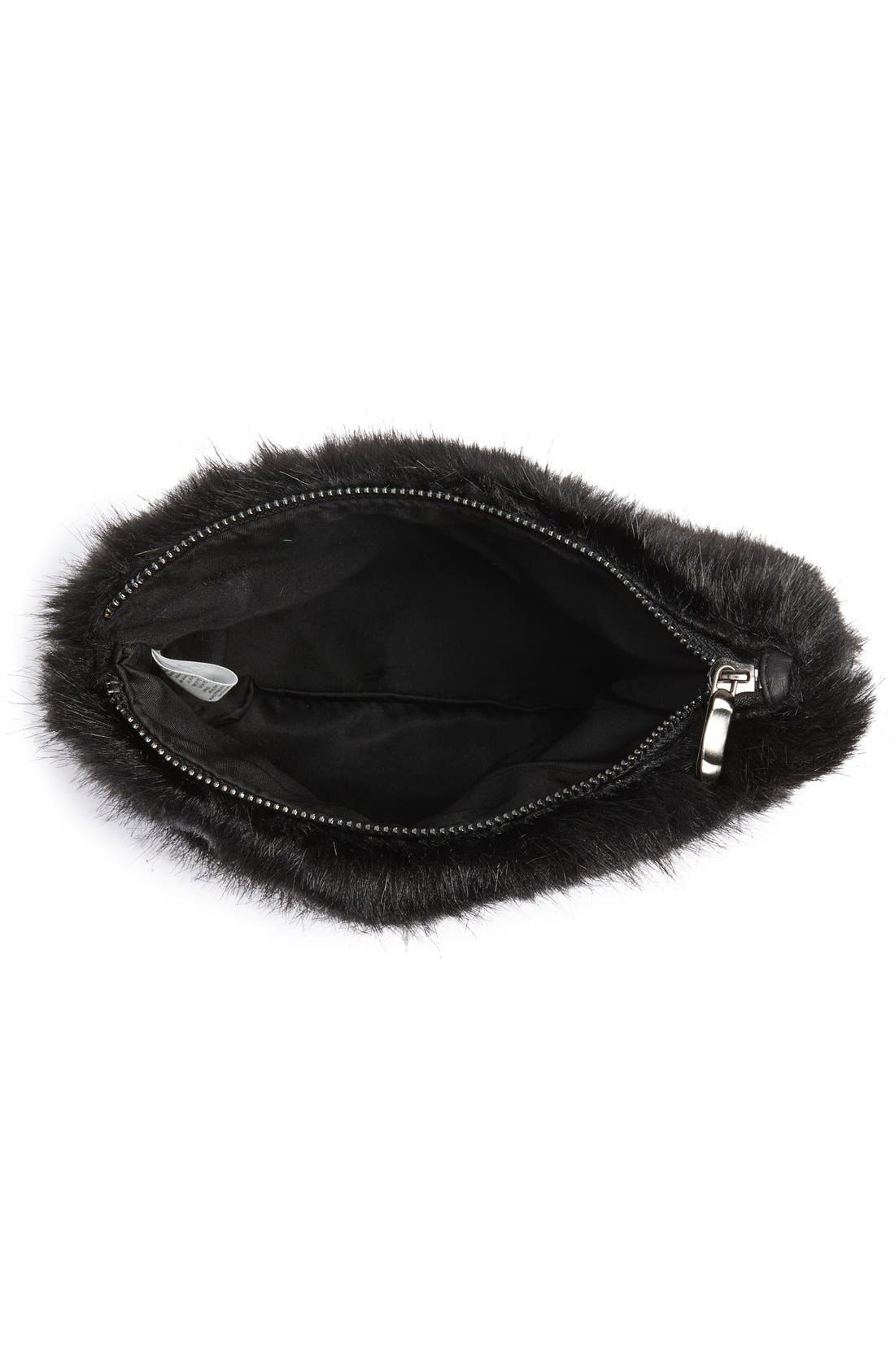 Faux Fur Clutch,                             Alternate thumbnail 8, color,                             001