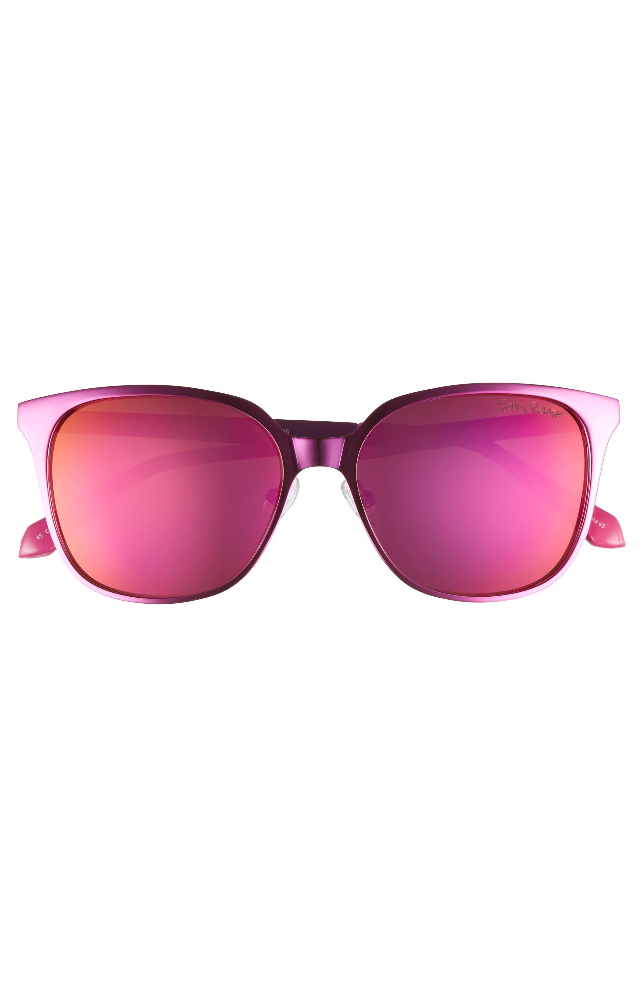 Landon 54mm Polarized Sunglasses,                             Alternate thumbnail 3, color,                             PINK/ PINK