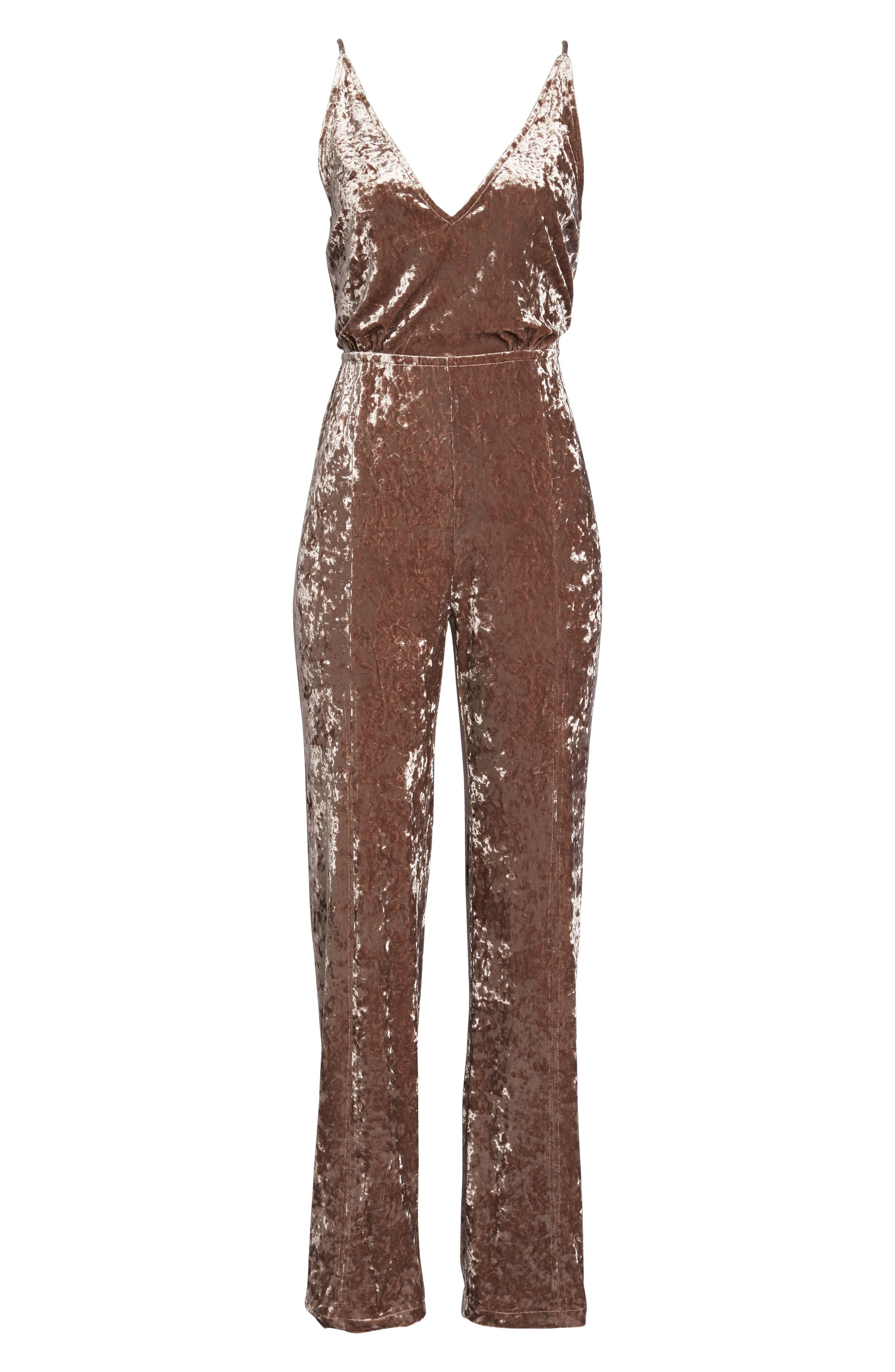 Cassandra Velvet Jumpsuit,                             Alternate thumbnail 6, color,                             650