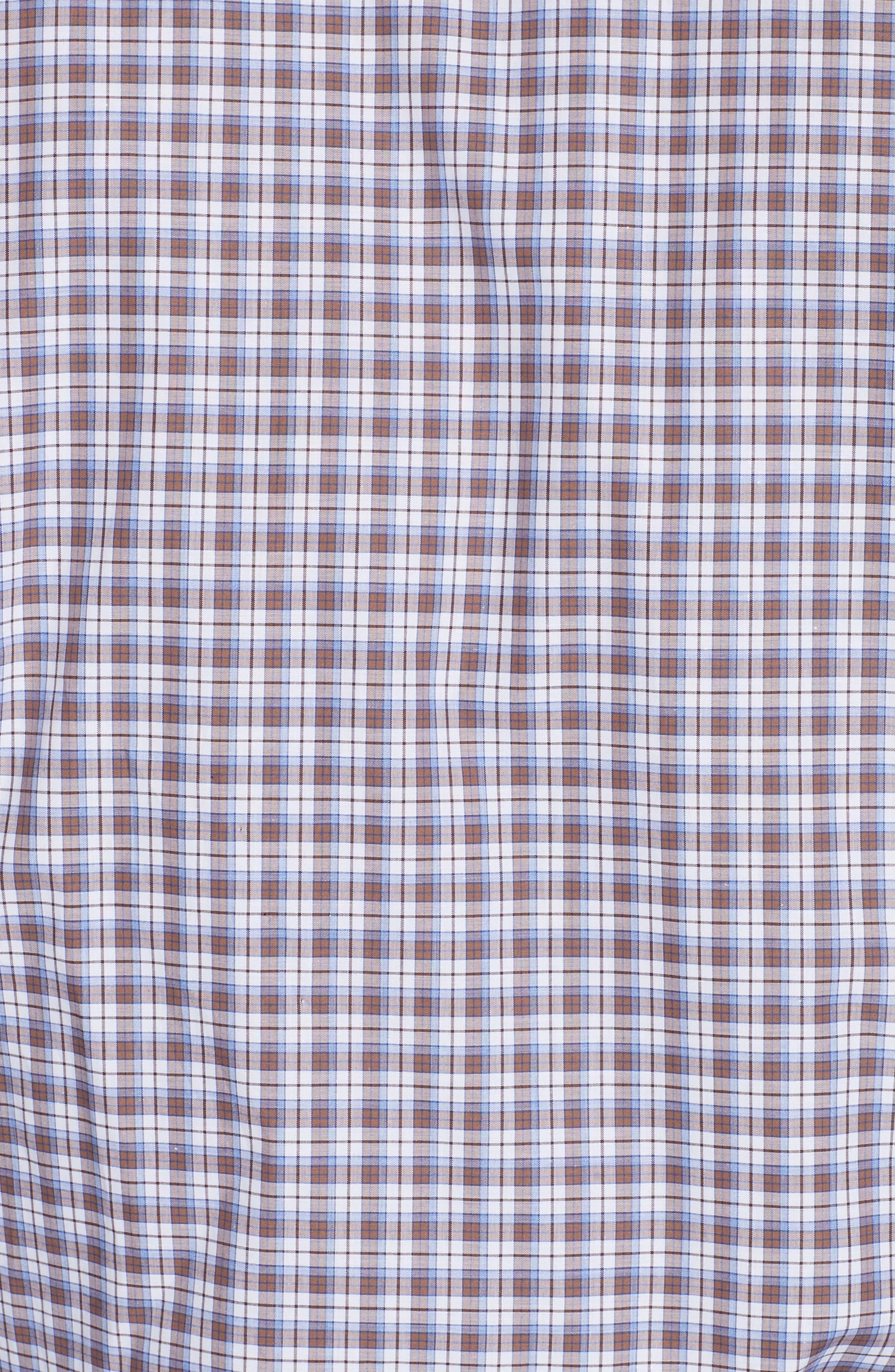 Trim Fit Plaid Dress Shirt,                             Alternate thumbnail 5, color,                             MED BROWN