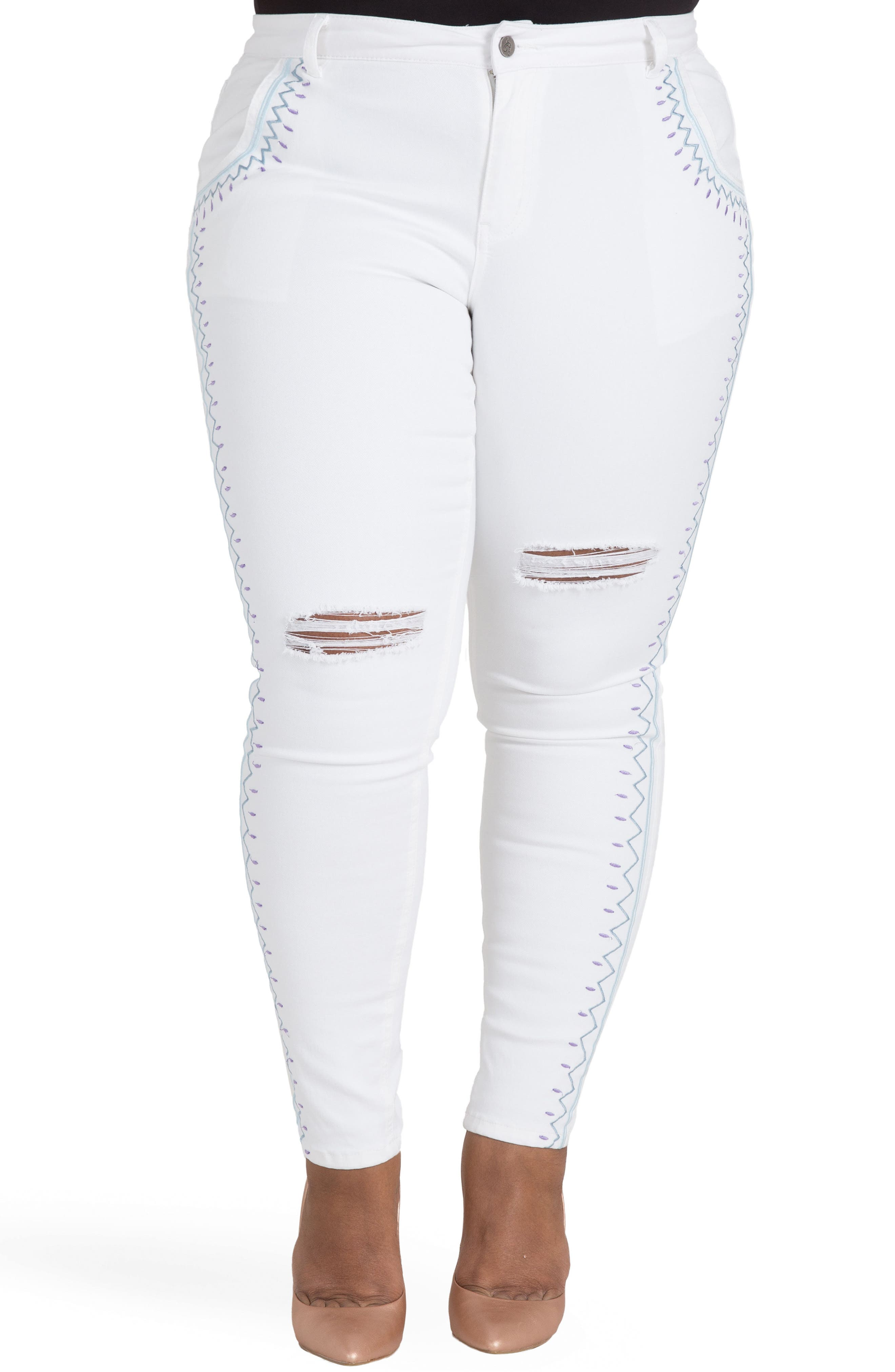 Shantelle Embroidered Distressed Skinny Jeans,                             Main thumbnail 1, color,                             WHITEOUT