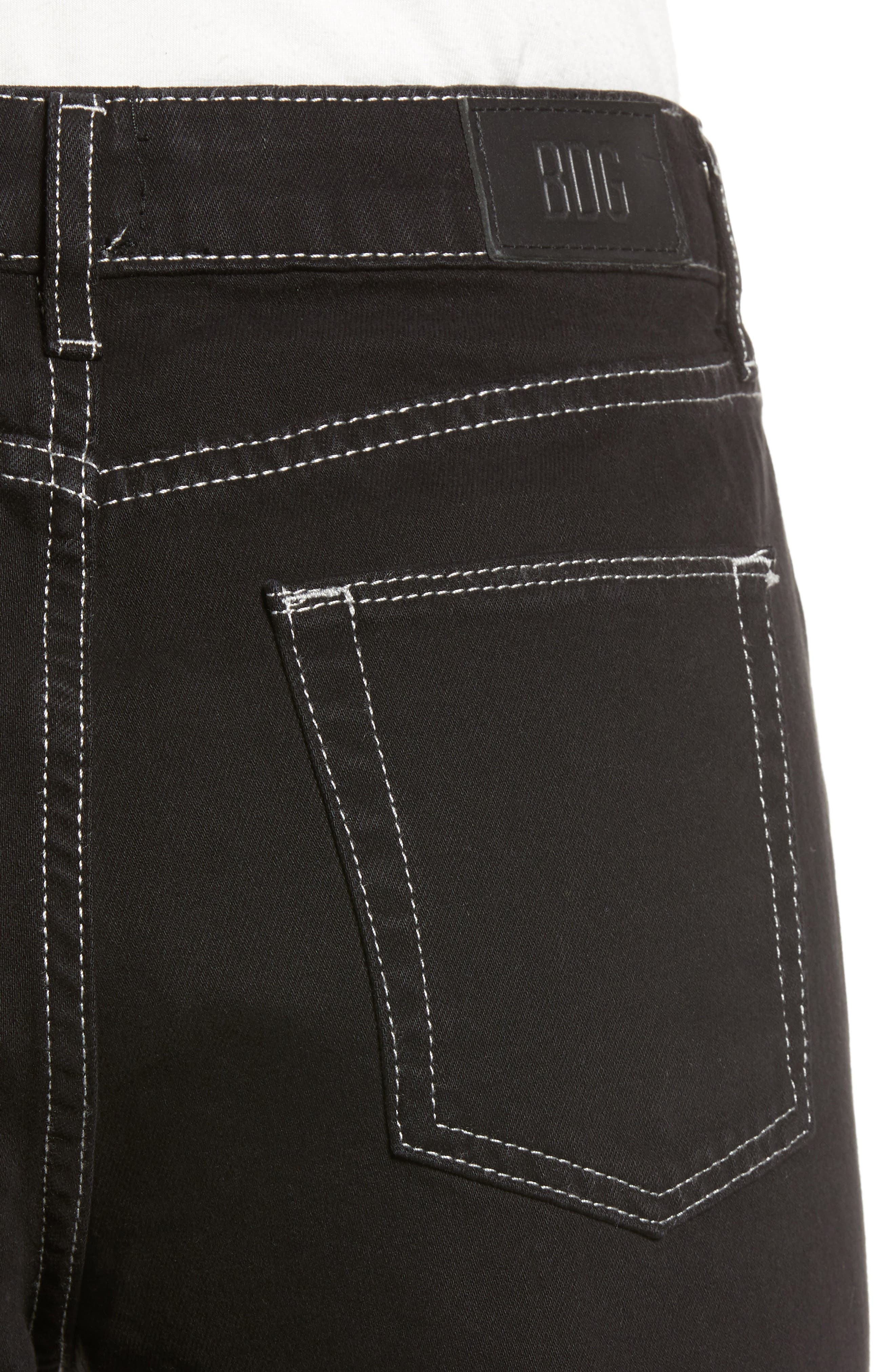 Urban Outfitters Pax High Waist Jeans,                             Alternate thumbnail 4, color,                             BLACK