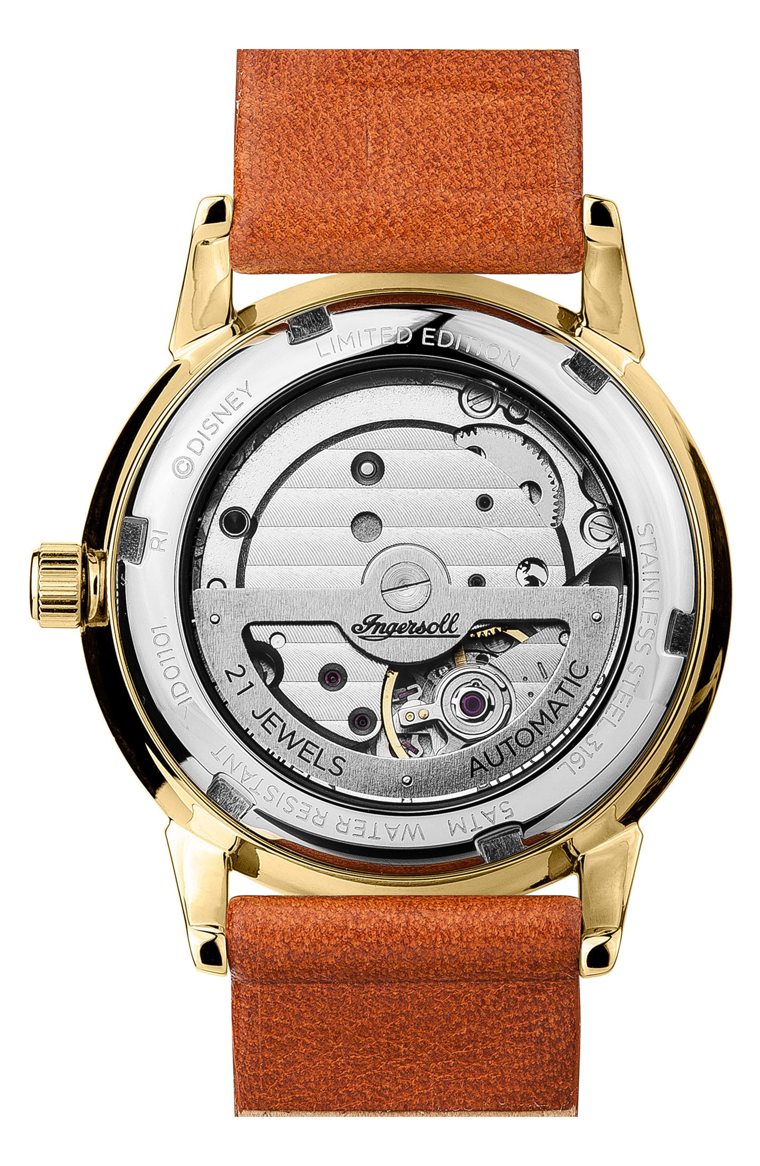 Ingersoll New Haven Disney Automatic Leather Strap Watch, 34mm,                             Alternate thumbnail 2, color,                             201