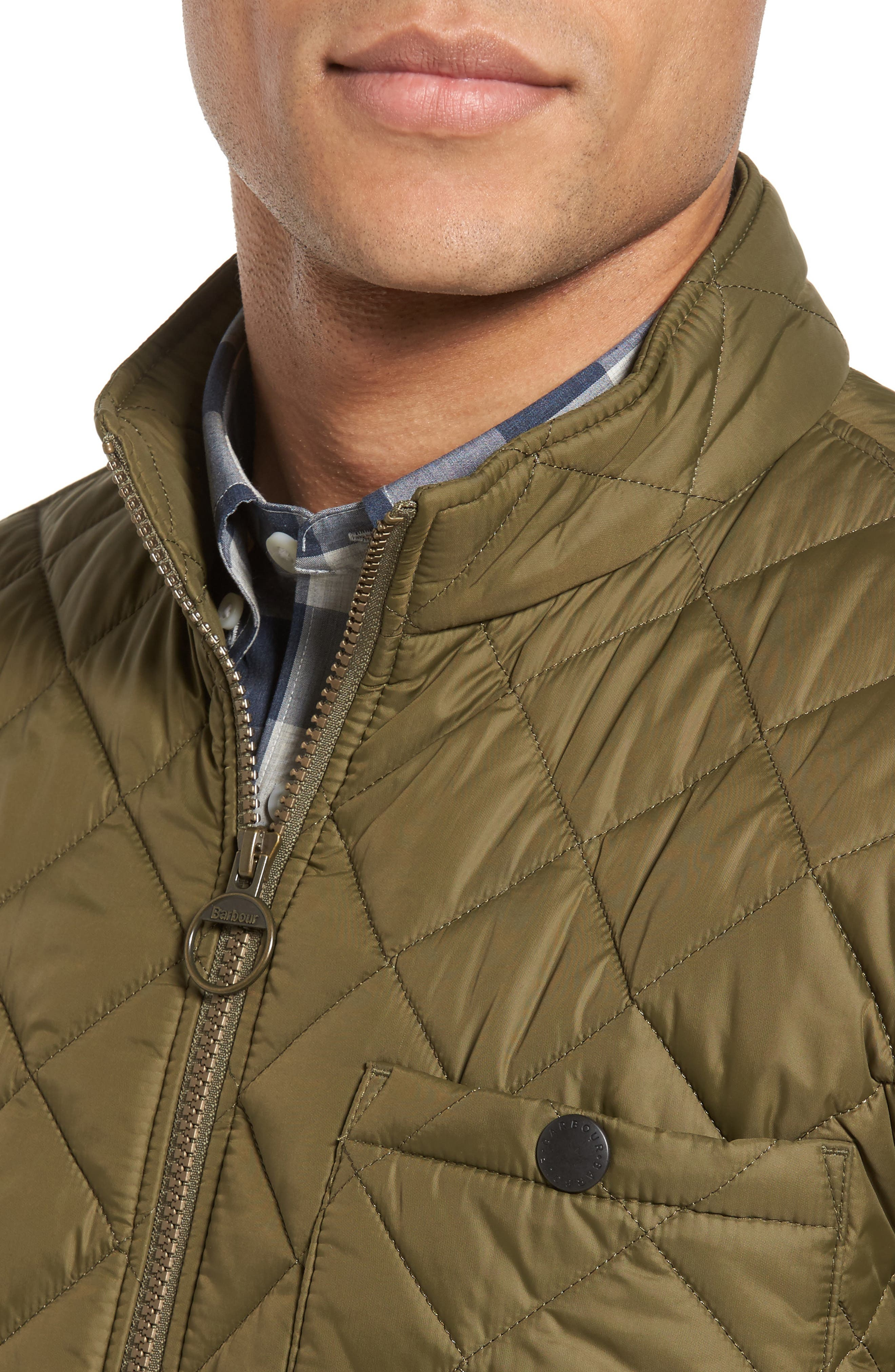 Pod Slim Fit Quilted Jacket,                             Alternate thumbnail 4, color,                             OLIVE