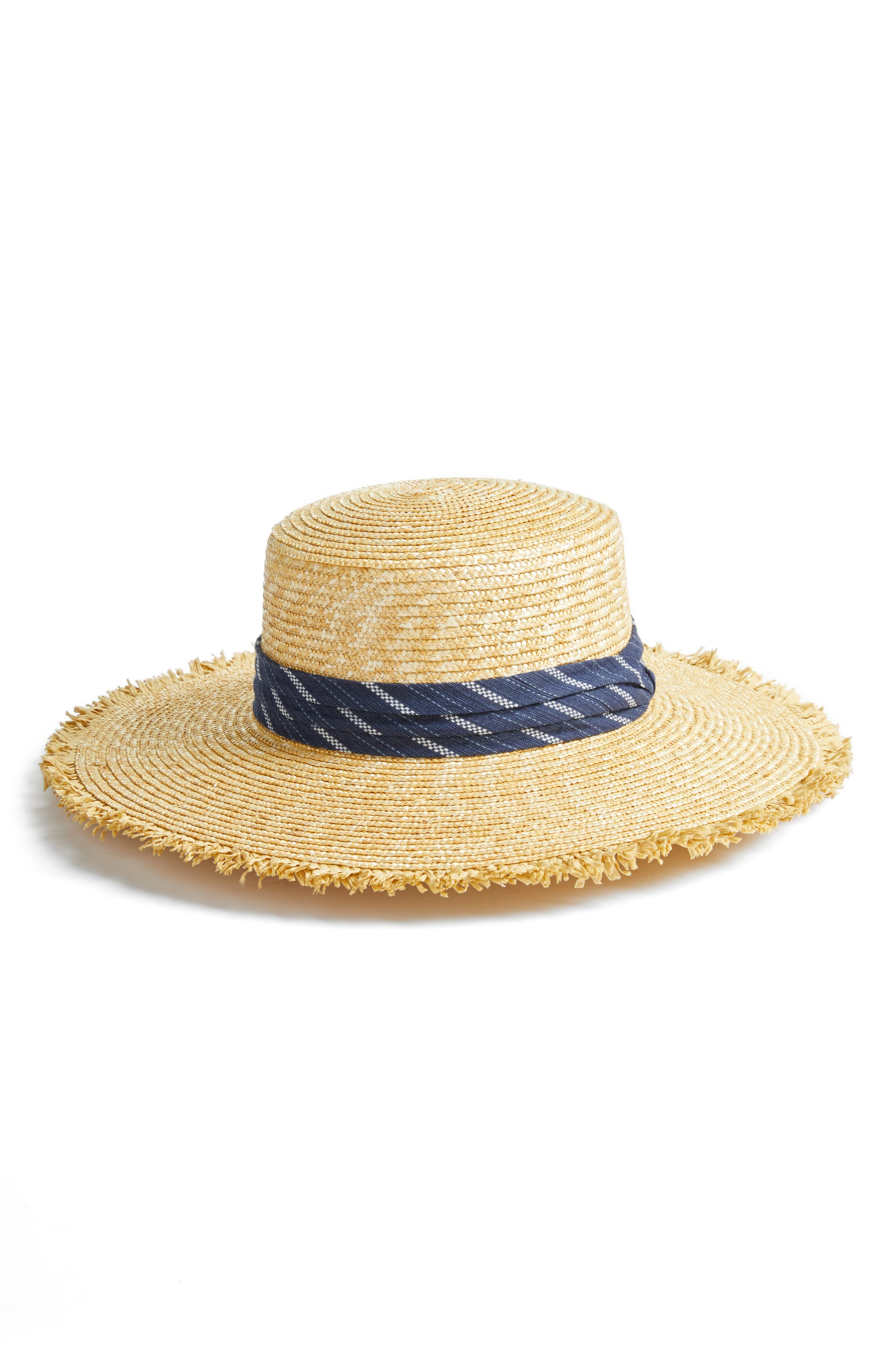Denim Banded Straw Boater Hat,                             Main thumbnail 1, color,                             NATURAL
