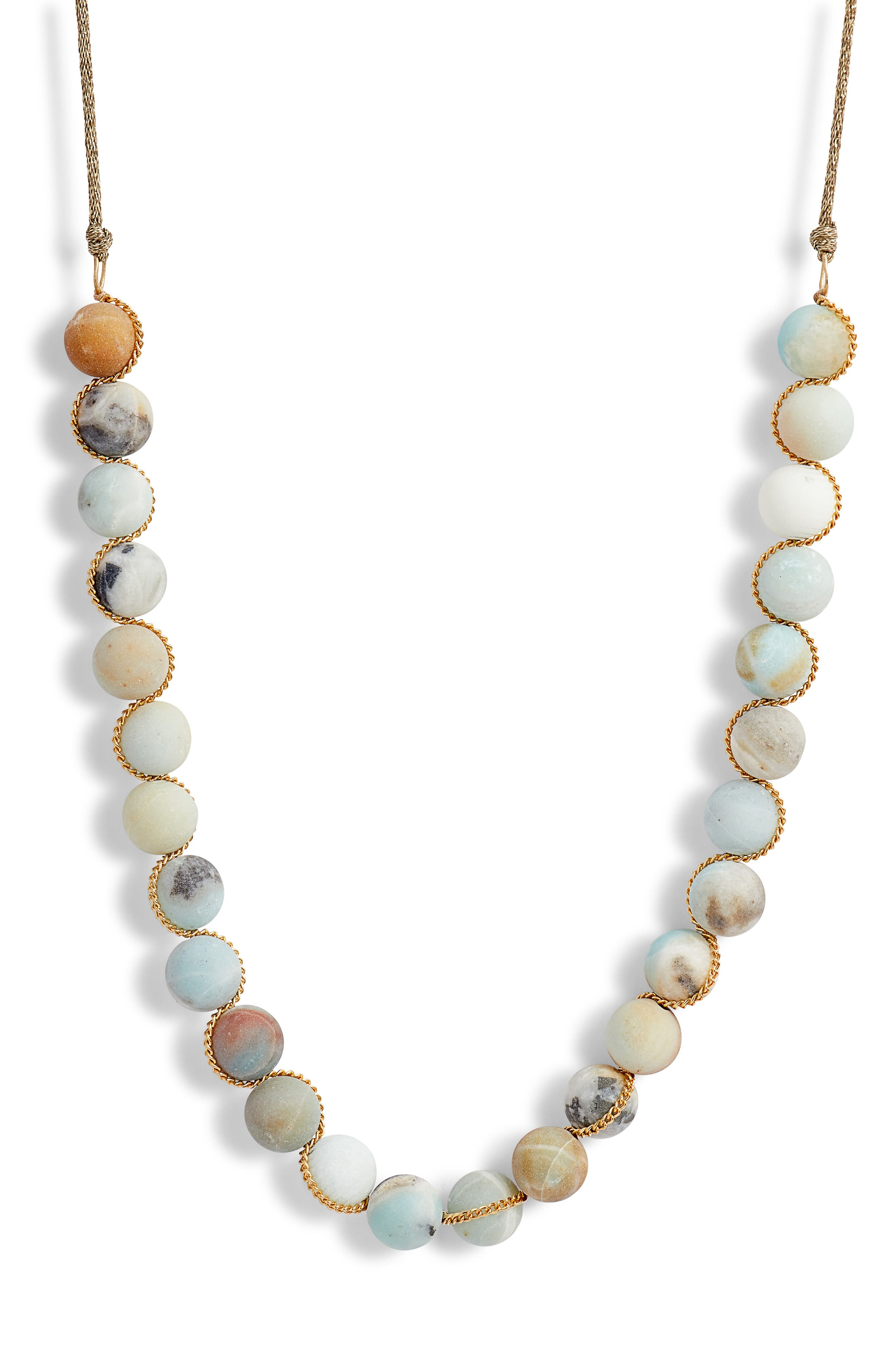 Matte Multicolor Amazonite Adjustable Necklace,                         Main,                         color, MATTE MULTI