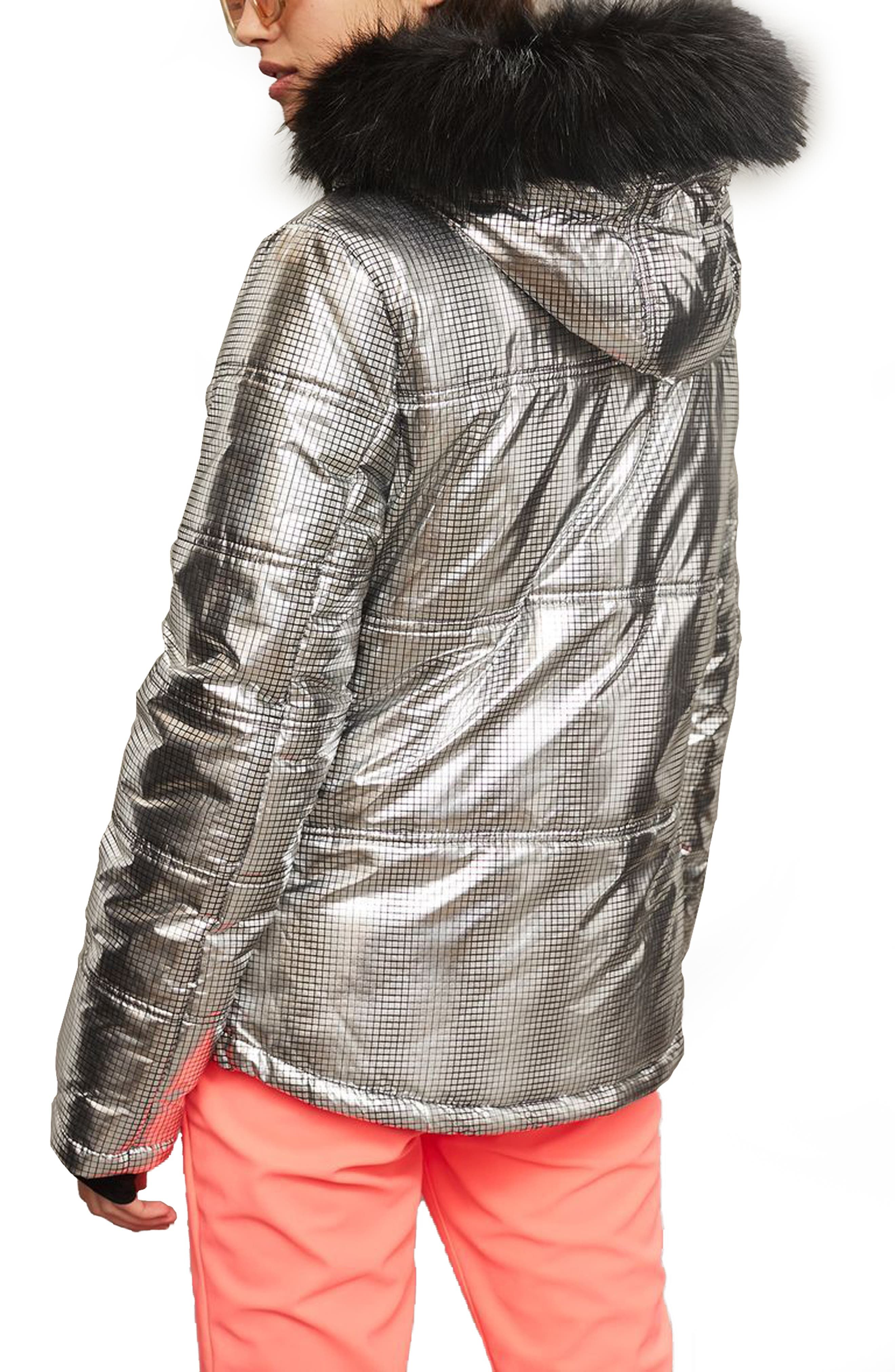 SNO Rio Faux Fur Hood Metallic Puffer Jacket,                             Alternate thumbnail 2, color,                             040