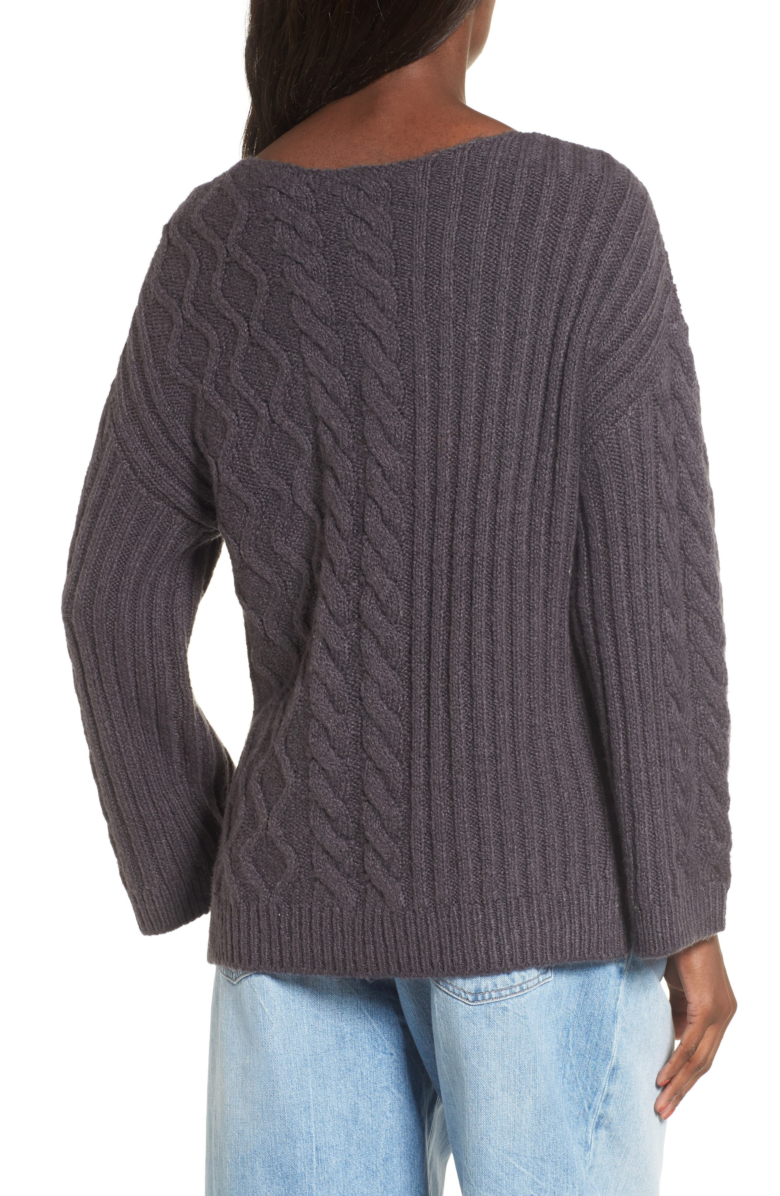 Mix Stitch Cotton Blend Sweater,                             Alternate thumbnail 3, color,