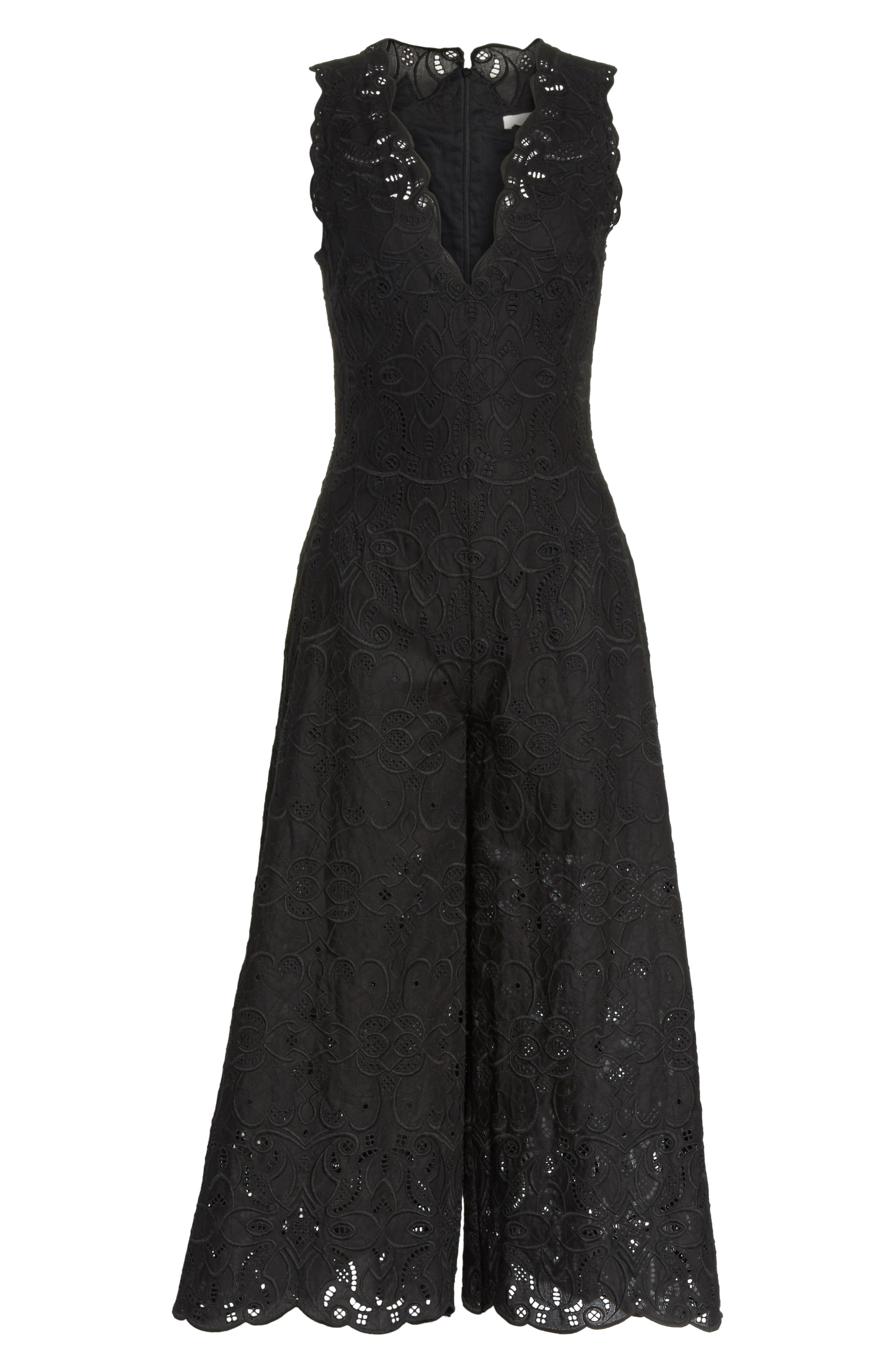Scallop Edge Embroidered Jumpsuit,                             Alternate thumbnail 6, color,                             001