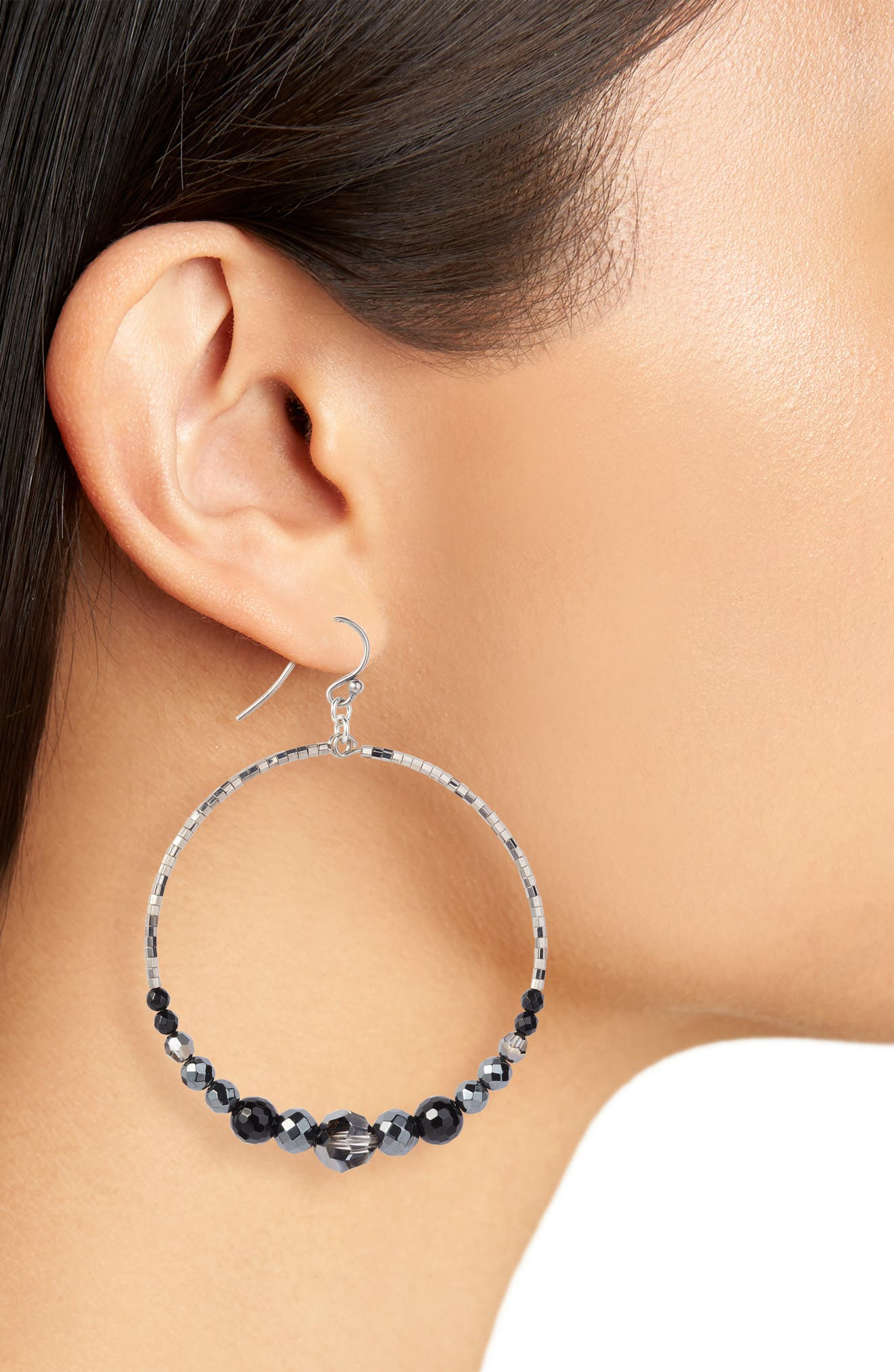 Semiprecious Stone Frontal Hoop Earrings,                             Alternate thumbnail 2, color,                             040