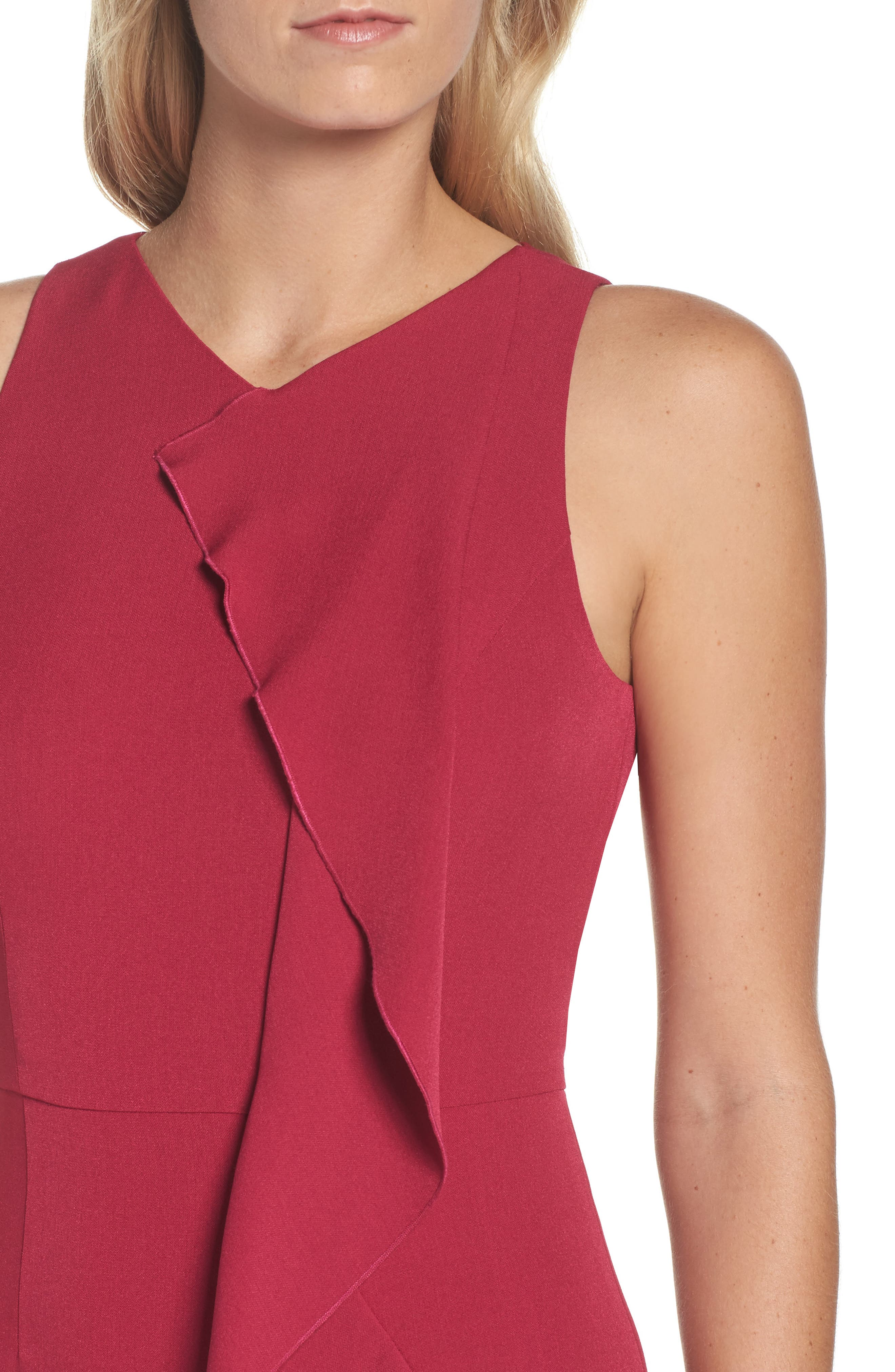 Stretch Crepe V-Neck Sheath,                             Alternate thumbnail 4, color,                             652