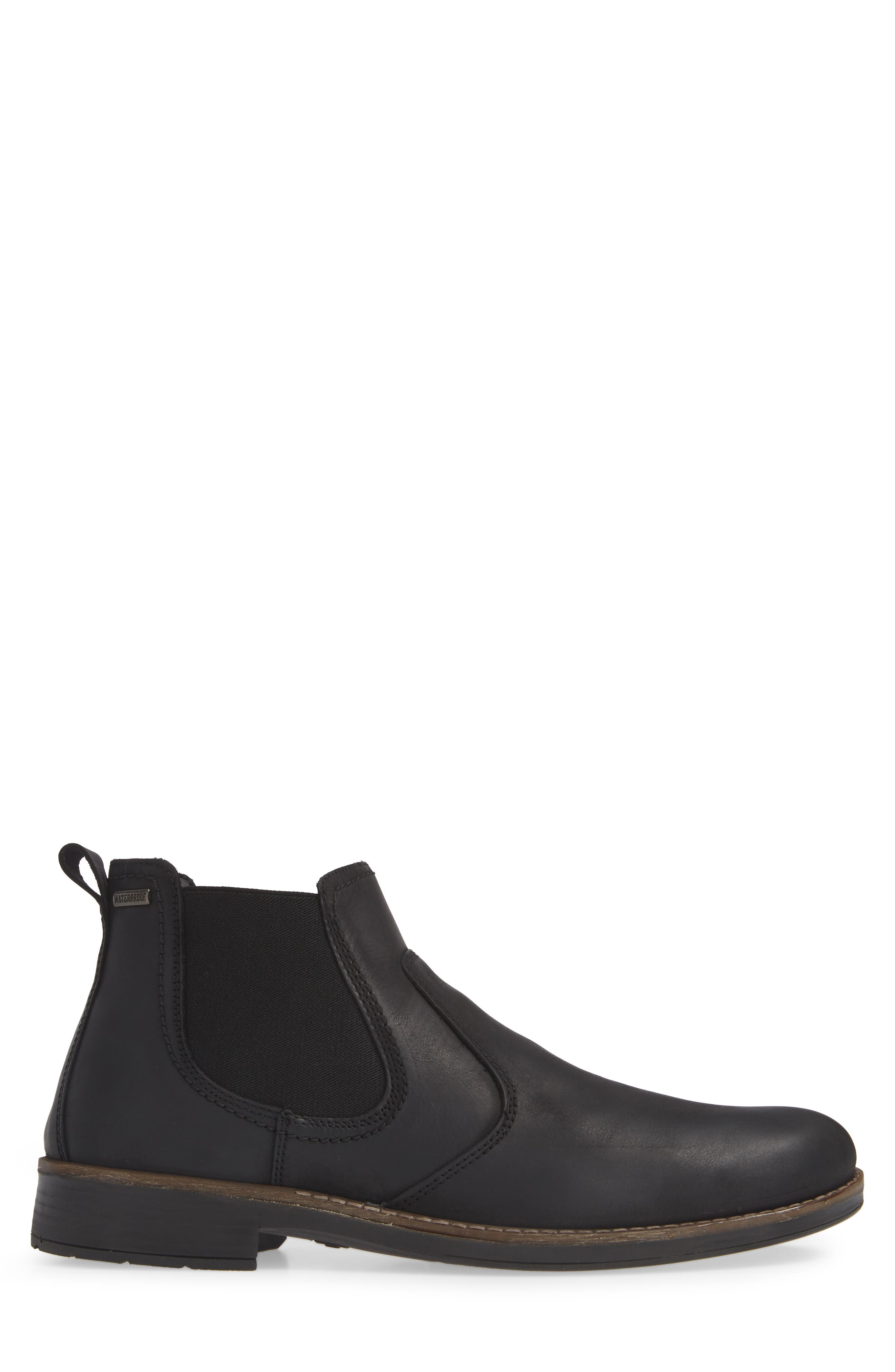 Maple Waterproof Chelsea Boot,                             Alternate thumbnail 3, color,                             BLACK LEATHER