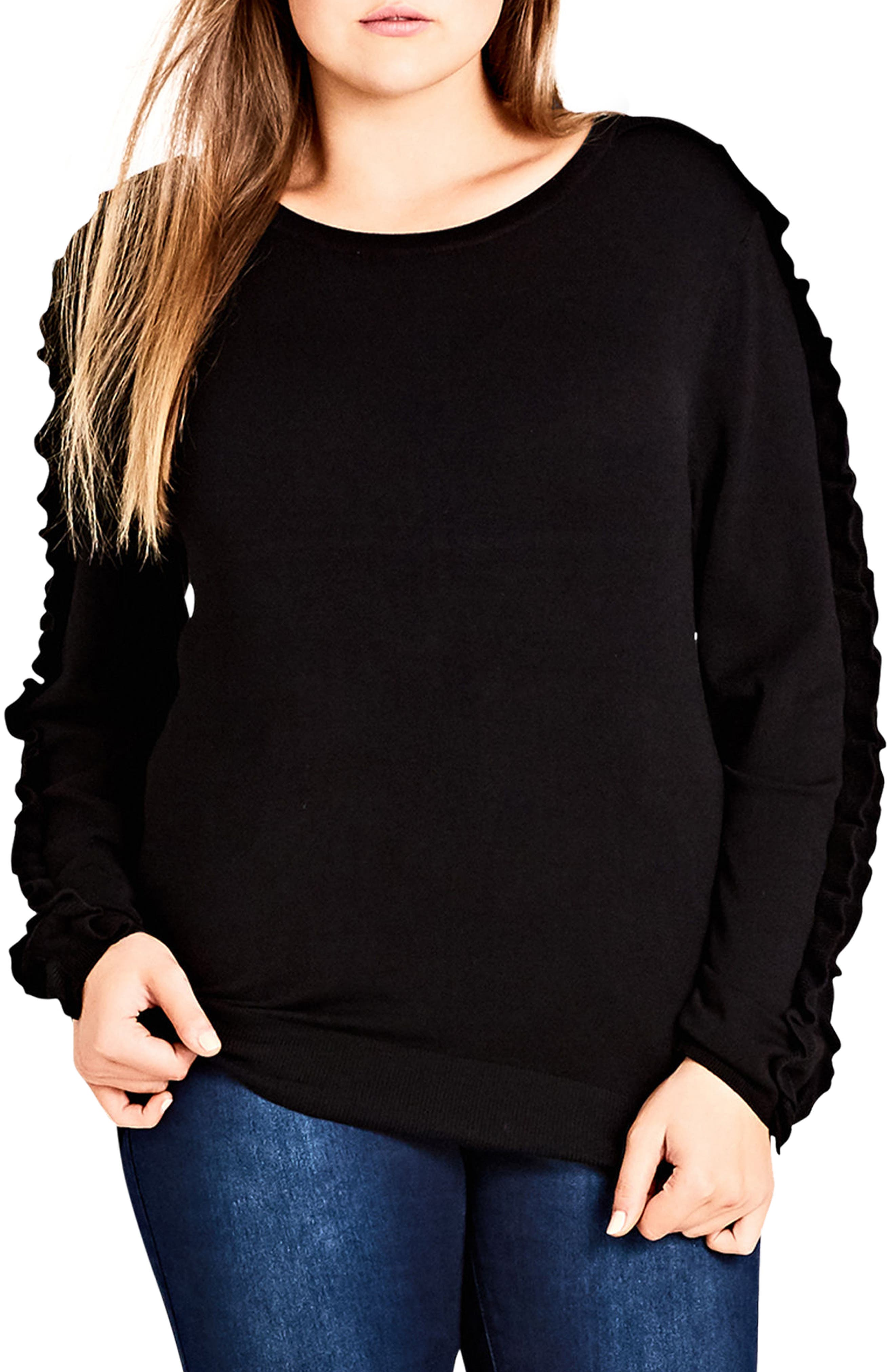 Charmed Ruffle Sleeve Sweater,                             Main thumbnail 1, color,                             BLACK