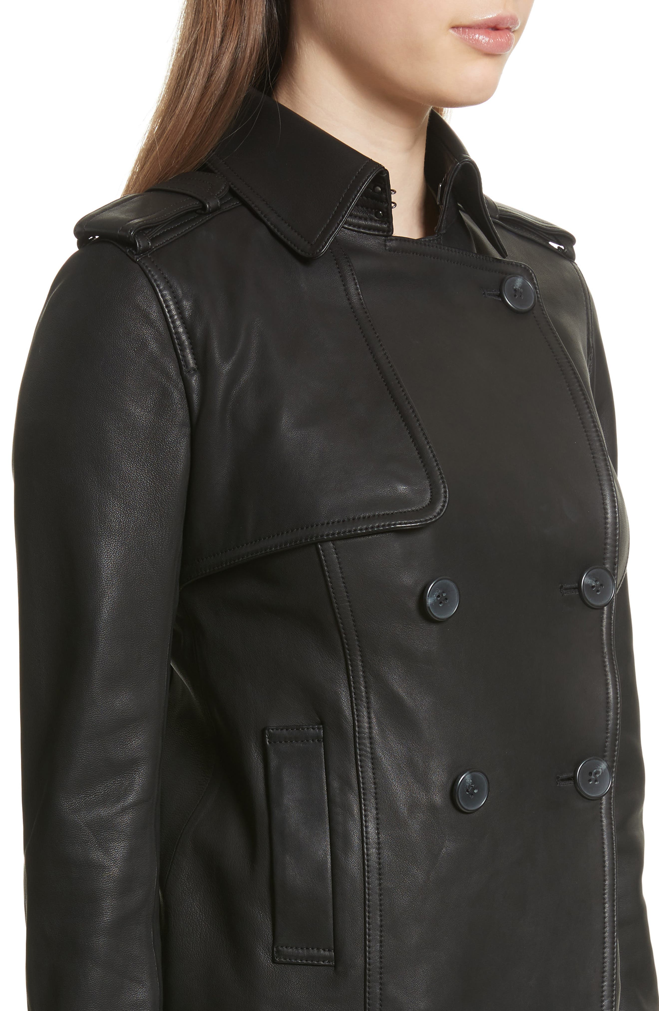 Crop Leather Trench Coat,                             Alternate thumbnail 4, color,                             001
