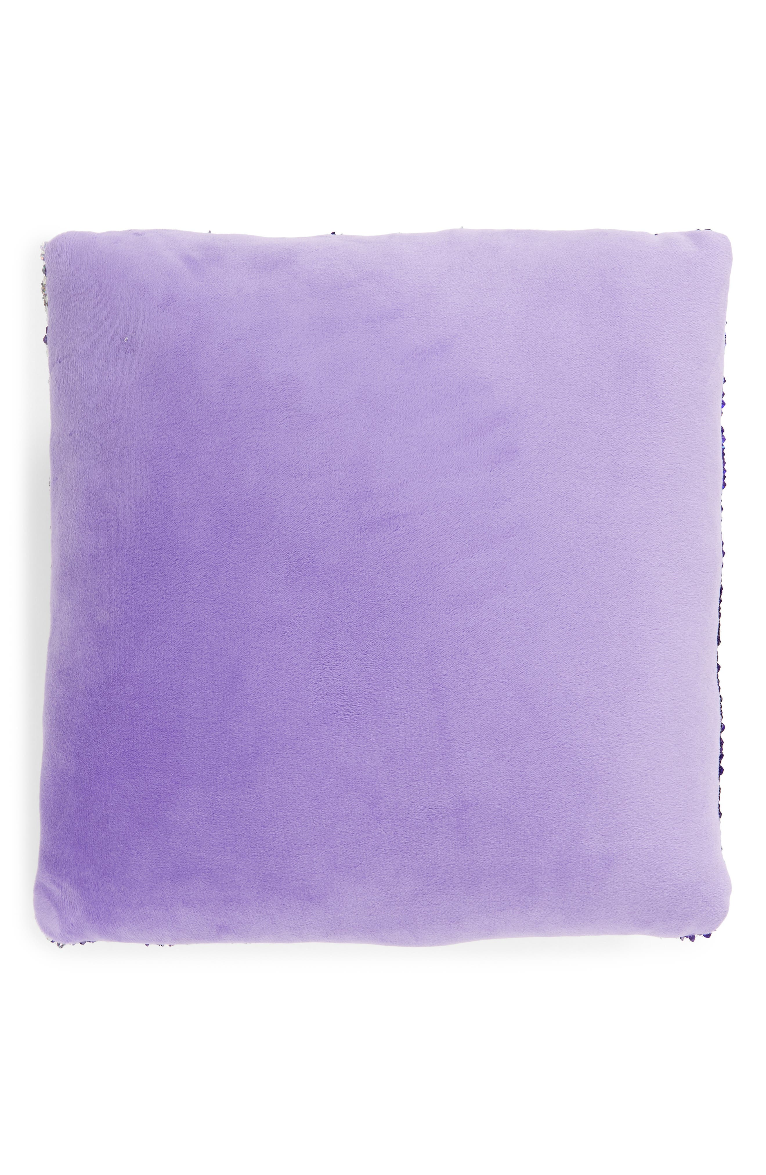 This Girl Can Flip Sequin Accent Pillow,                             Alternate thumbnail 2, color,                             PURPLE/ SILVER