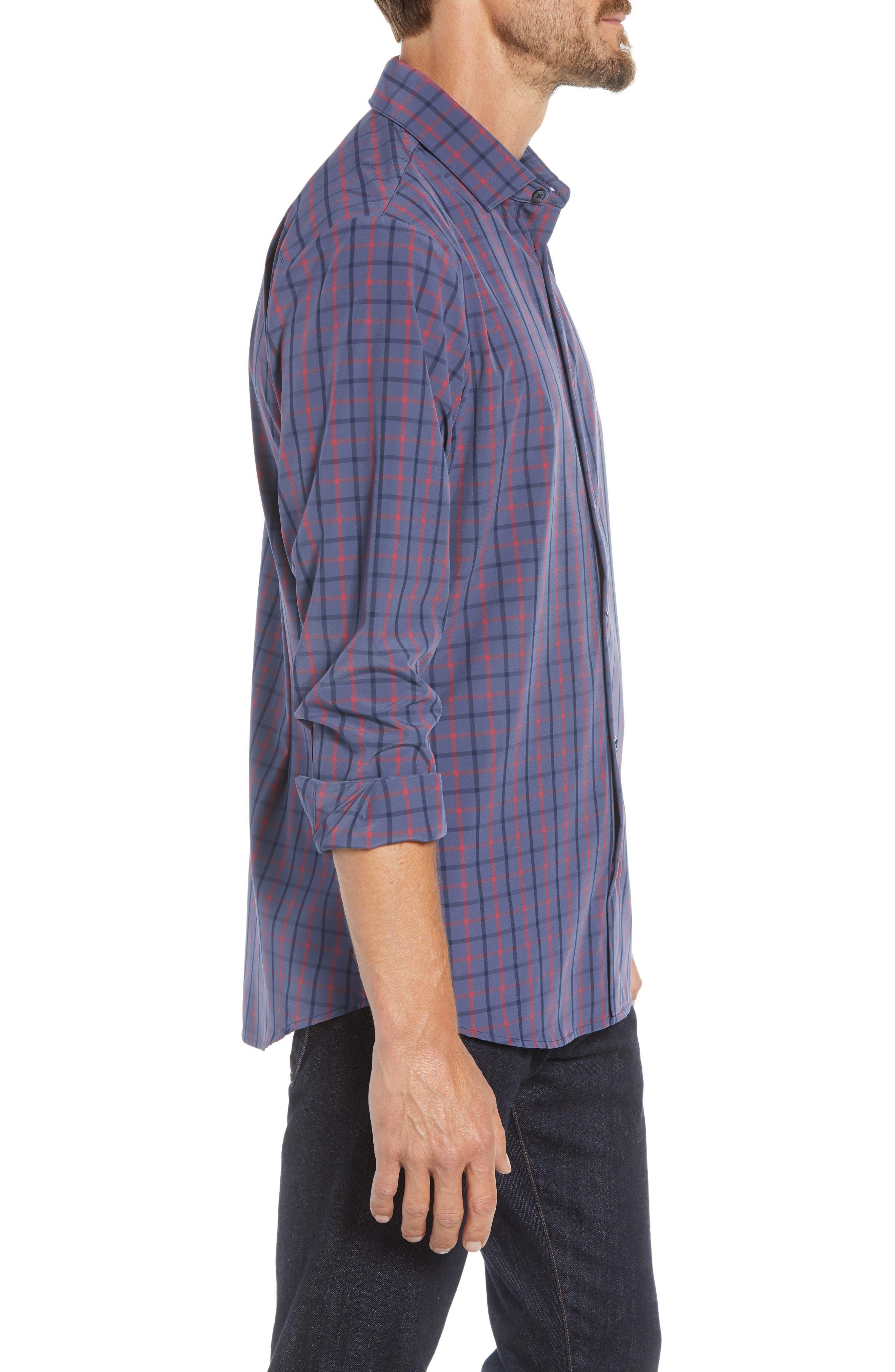 Wilson Slim Fit Plaid Performance Sport Shirt,                             Alternate thumbnail 4, color,                             BLUE
