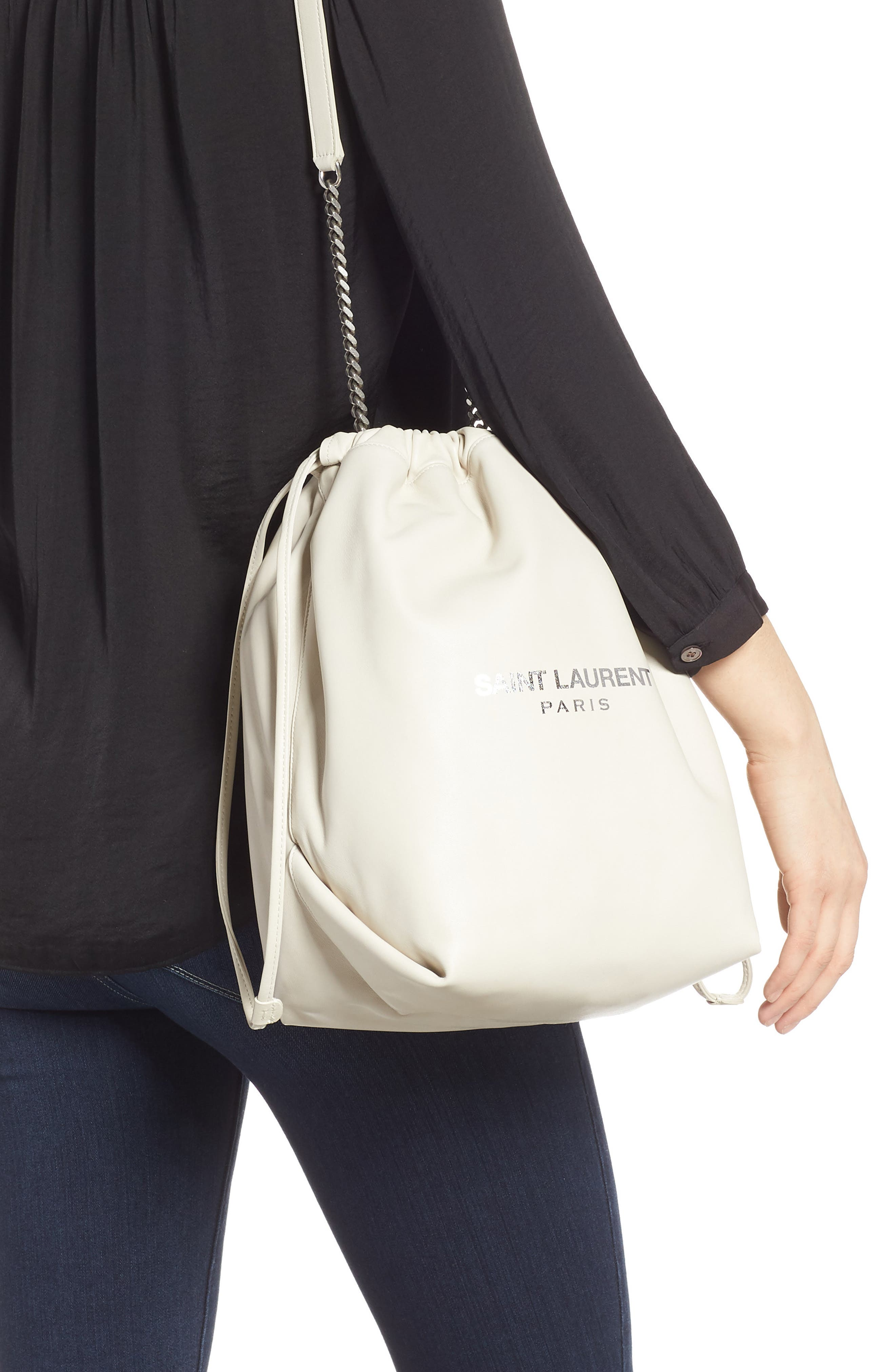 SAINT LAURENT,                             Teddy Leather Bucket Bag,                             Alternate thumbnail 2, color,                             CREMASOFT