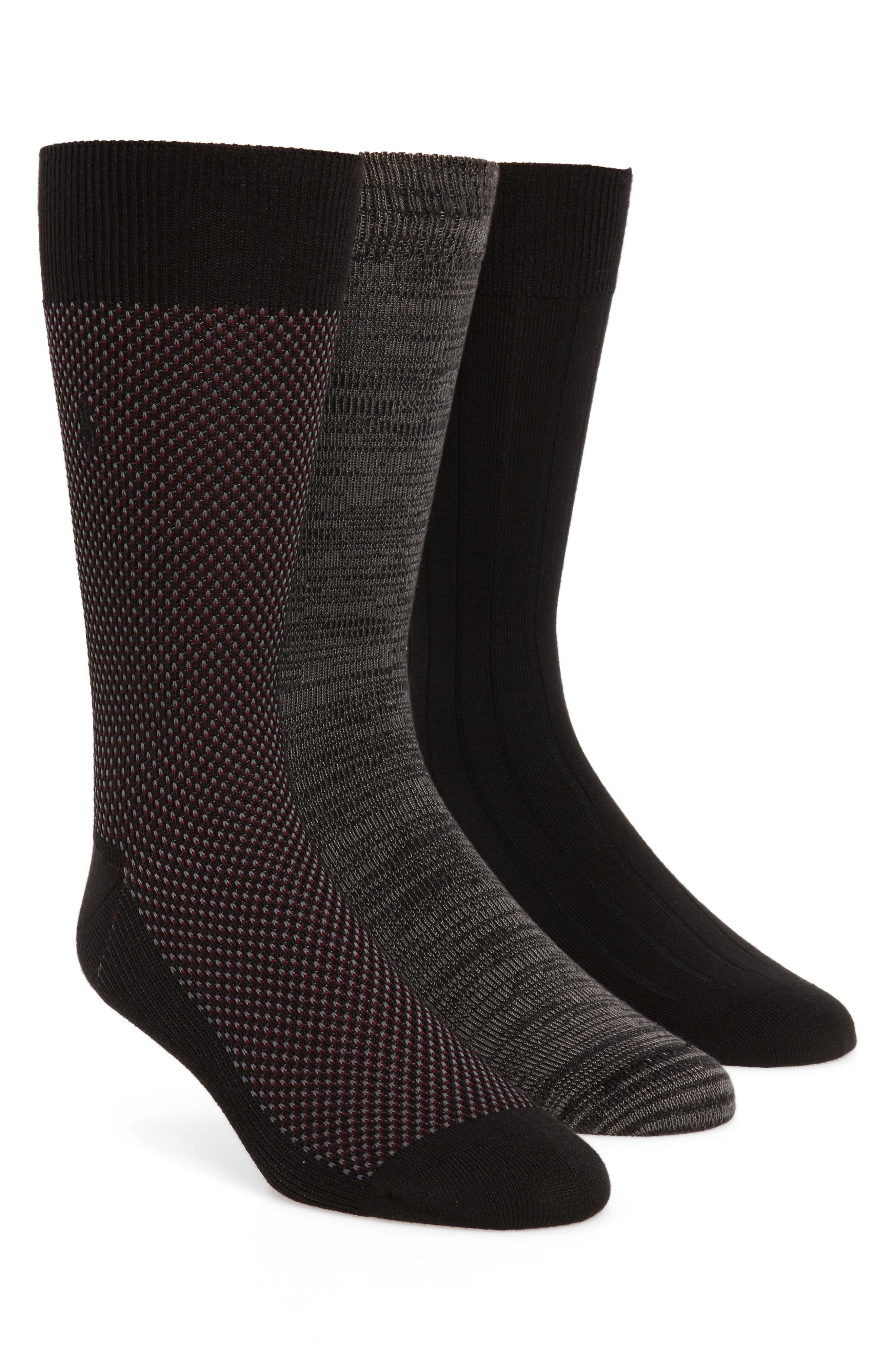 Supersoft Bird's Eye Assorted 3-Pack Socks,                         Main,                         color, BLACK