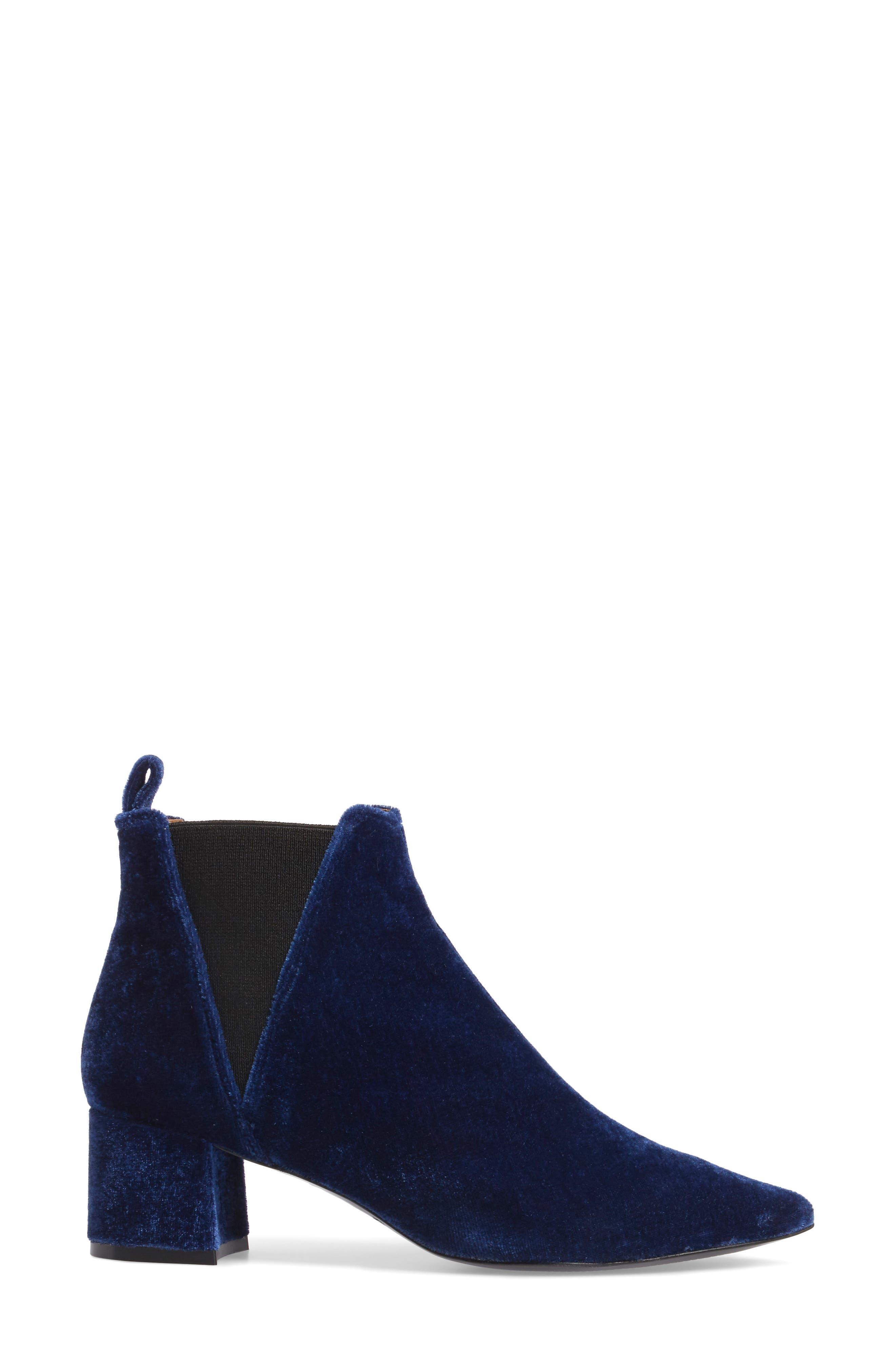 Renita Pointy Toe Chelsea Bootie,                             Alternate thumbnail 3, color,                             BLUE VELVET FABRIC