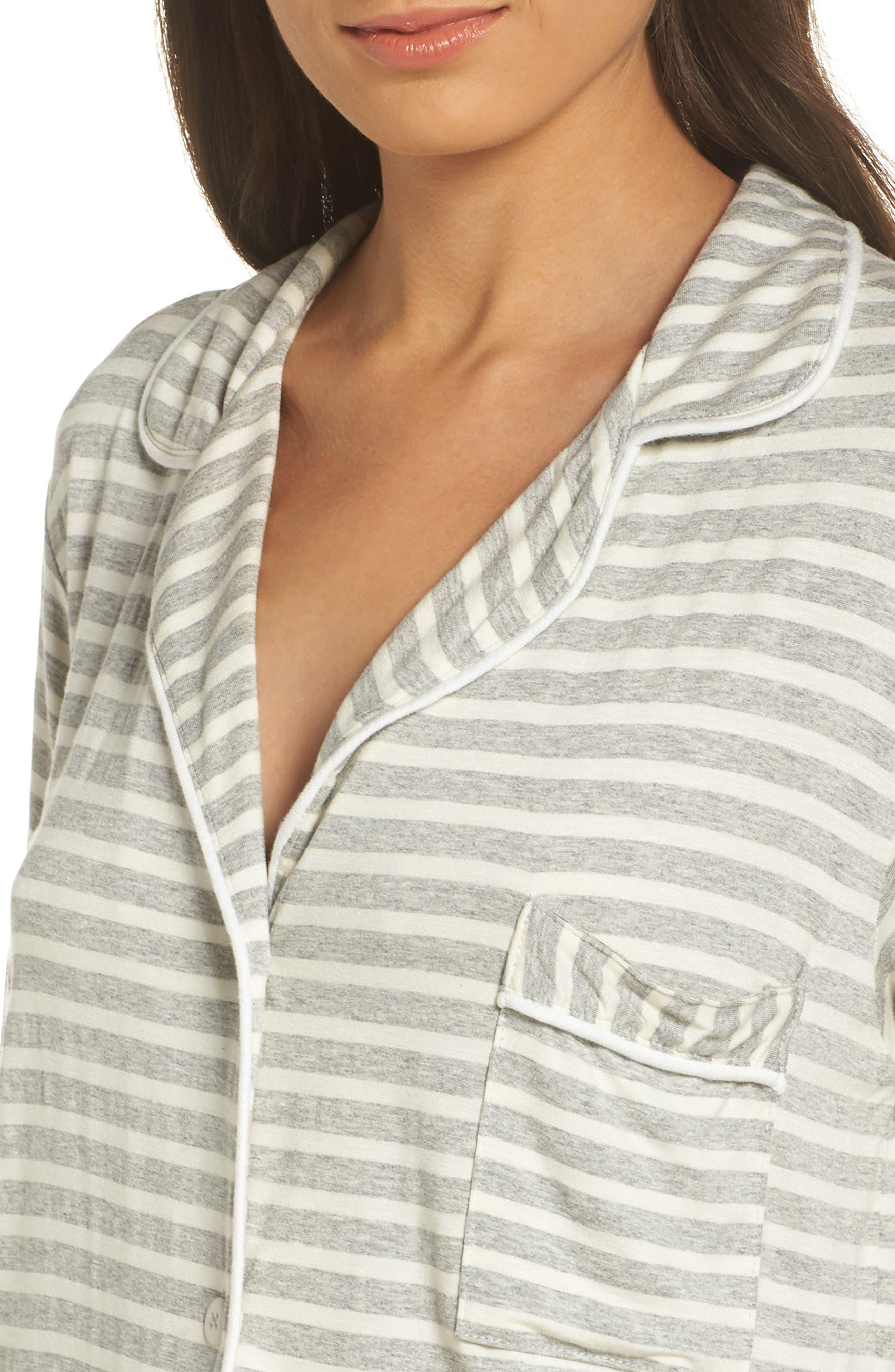 Monaco Short Pajamas,                             Alternate thumbnail 4, color,                             GREY STRIPE