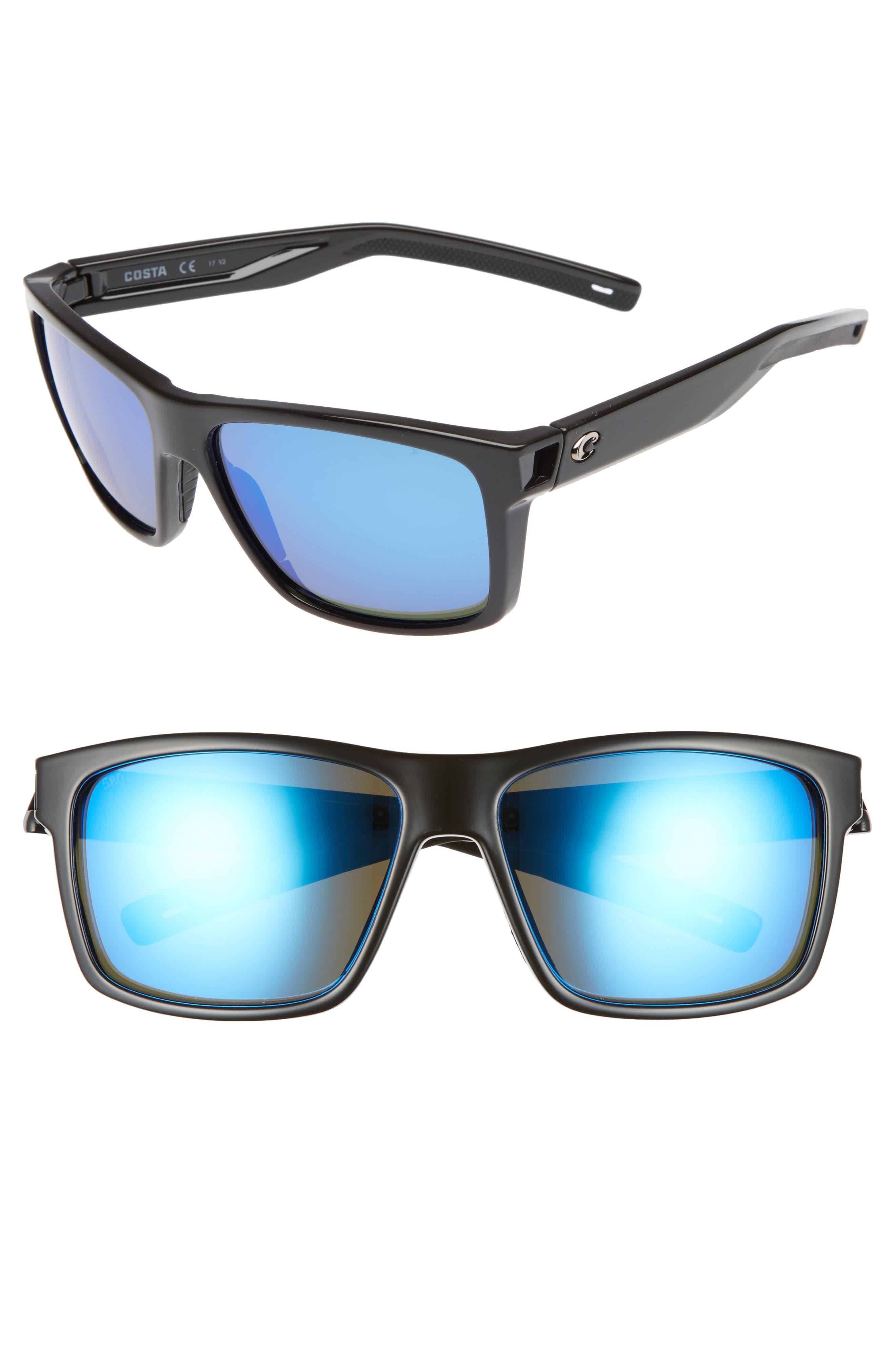 Slack Tide 58mm Polarized Sunglasses,                         Main,                         color, SHINY BLACK/ BLUE MIRROR