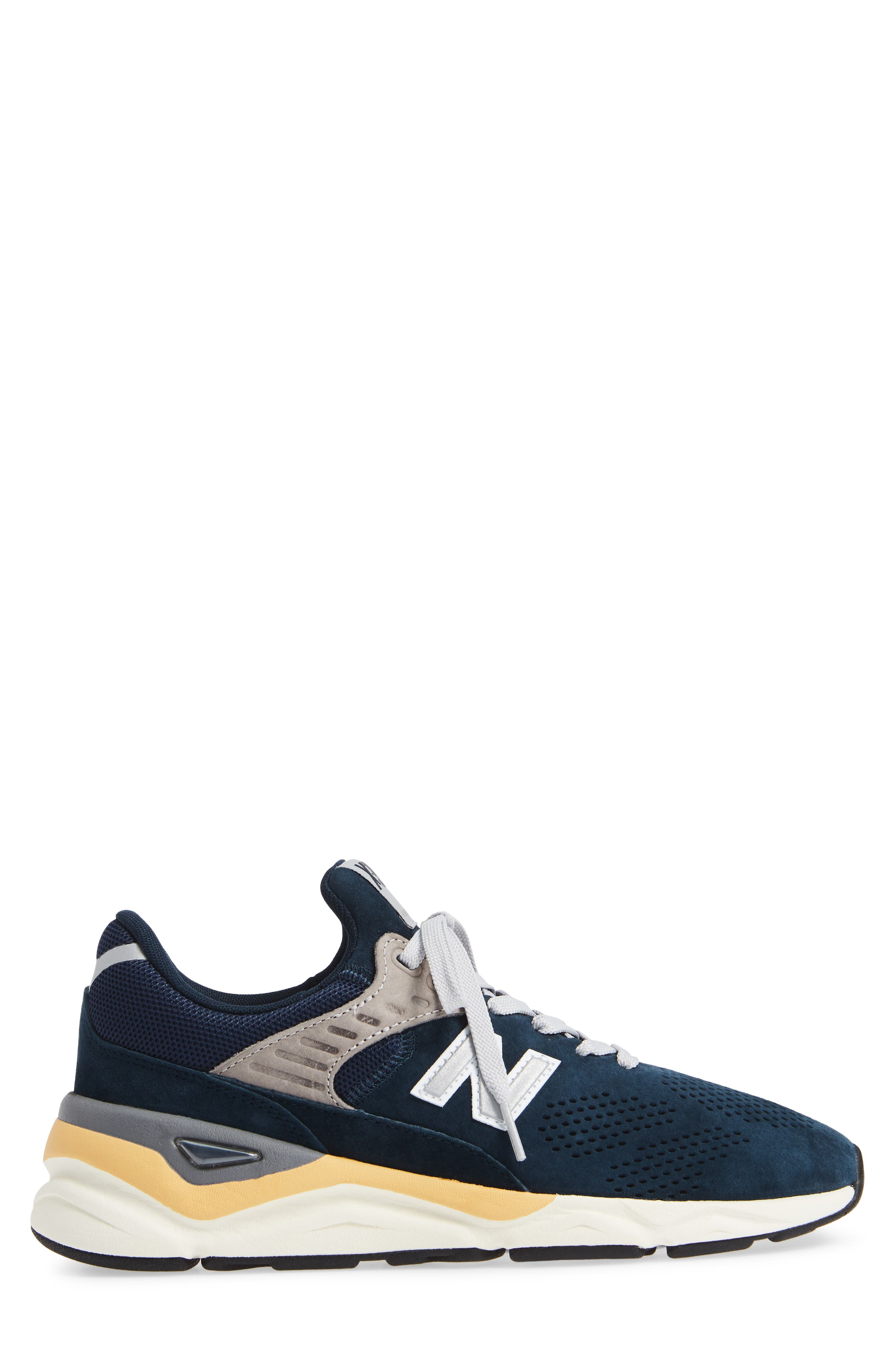 X-90 Leather Sneaker,                             Alternate thumbnail 3, color,                             NAVY SUEDE