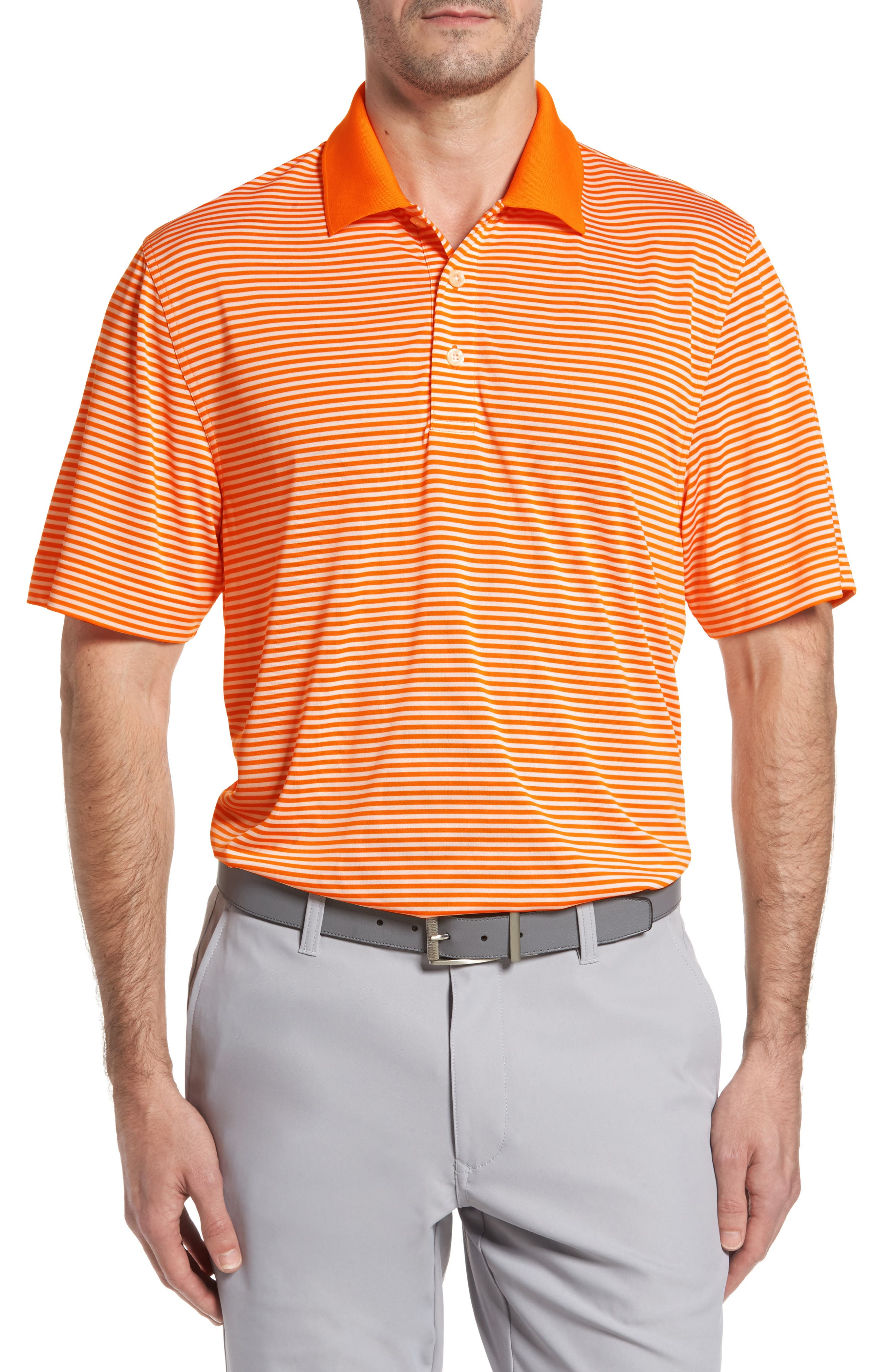 Cutter & Buck Trevor Stripe Drytec Polo, Orange