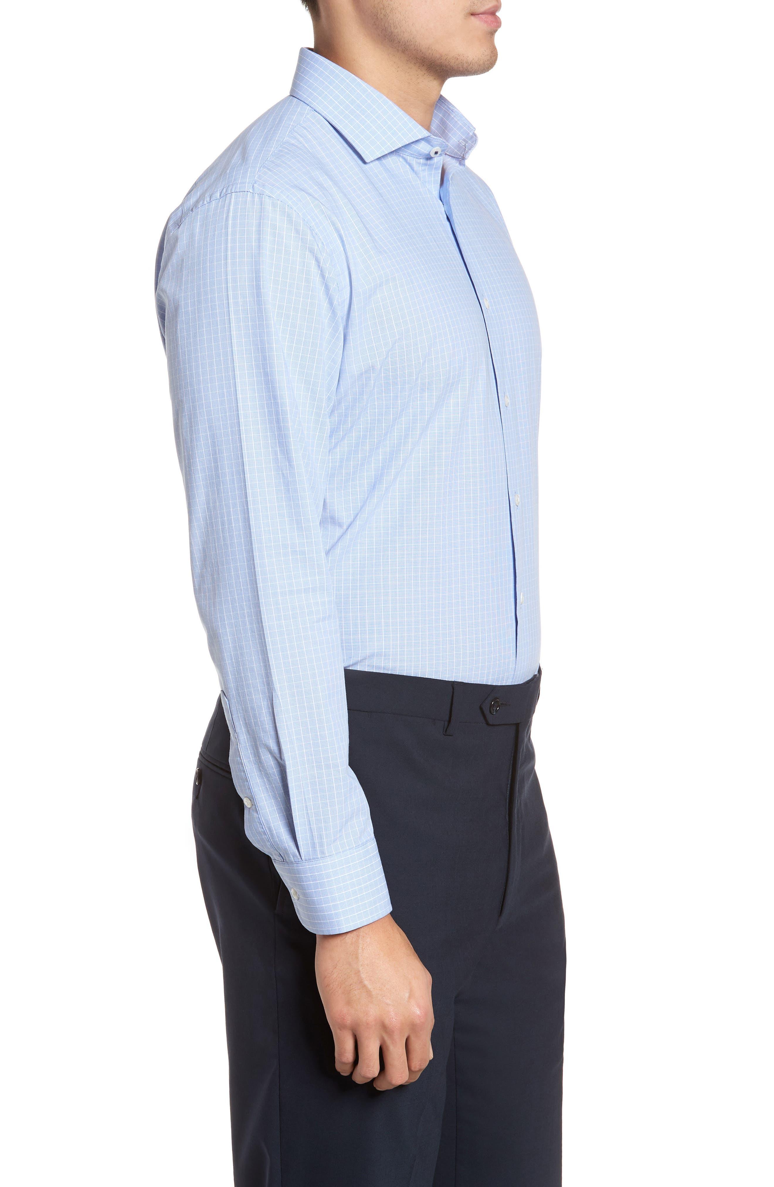 Tech-Smart Trim Fit Stretch Grid Dress Shirt,                             Alternate thumbnail 4, color,                             450