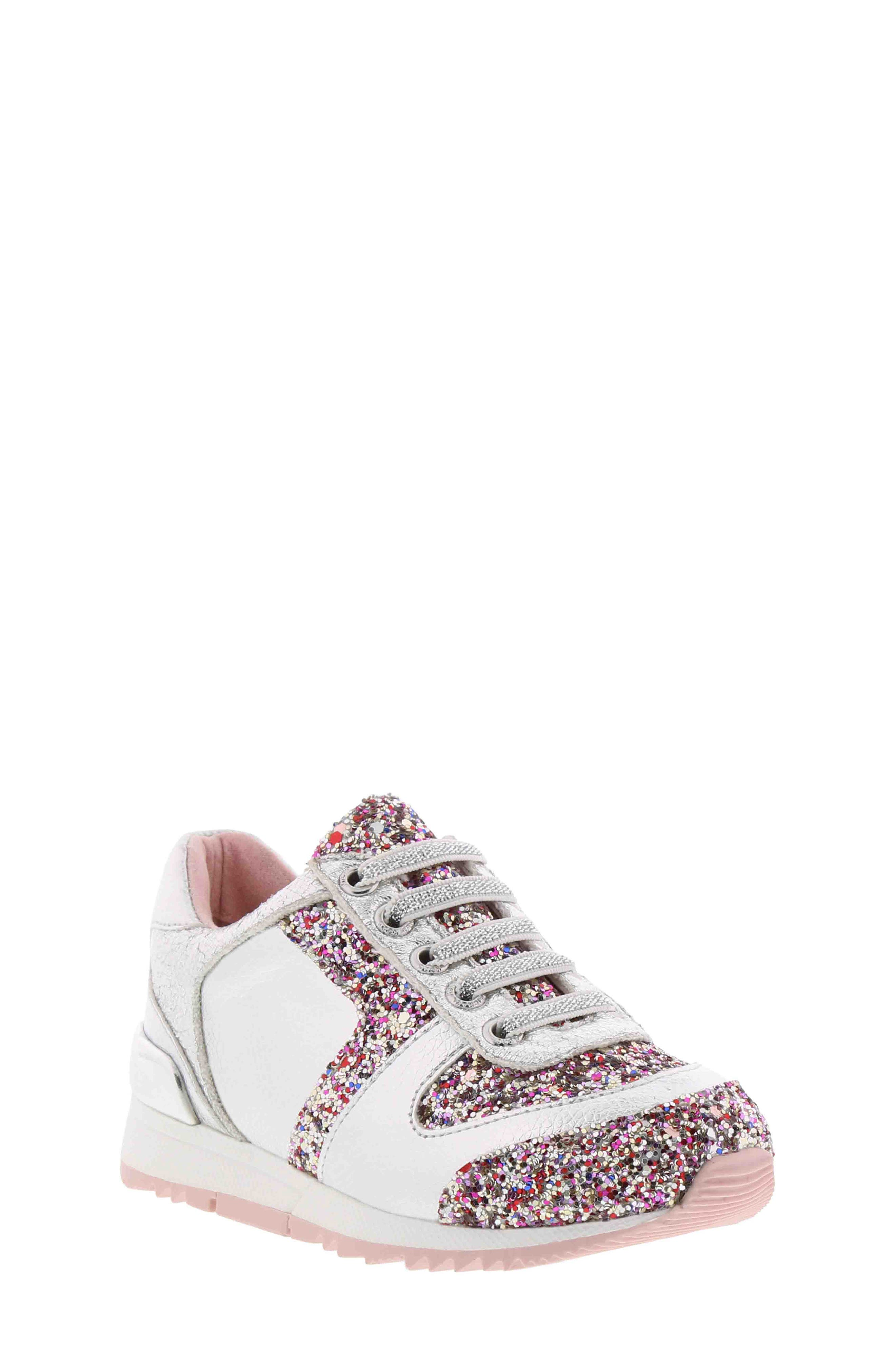 Allie Beatz Glitter Sneaker,                             Main thumbnail 1, color,                             SILVER MULTI