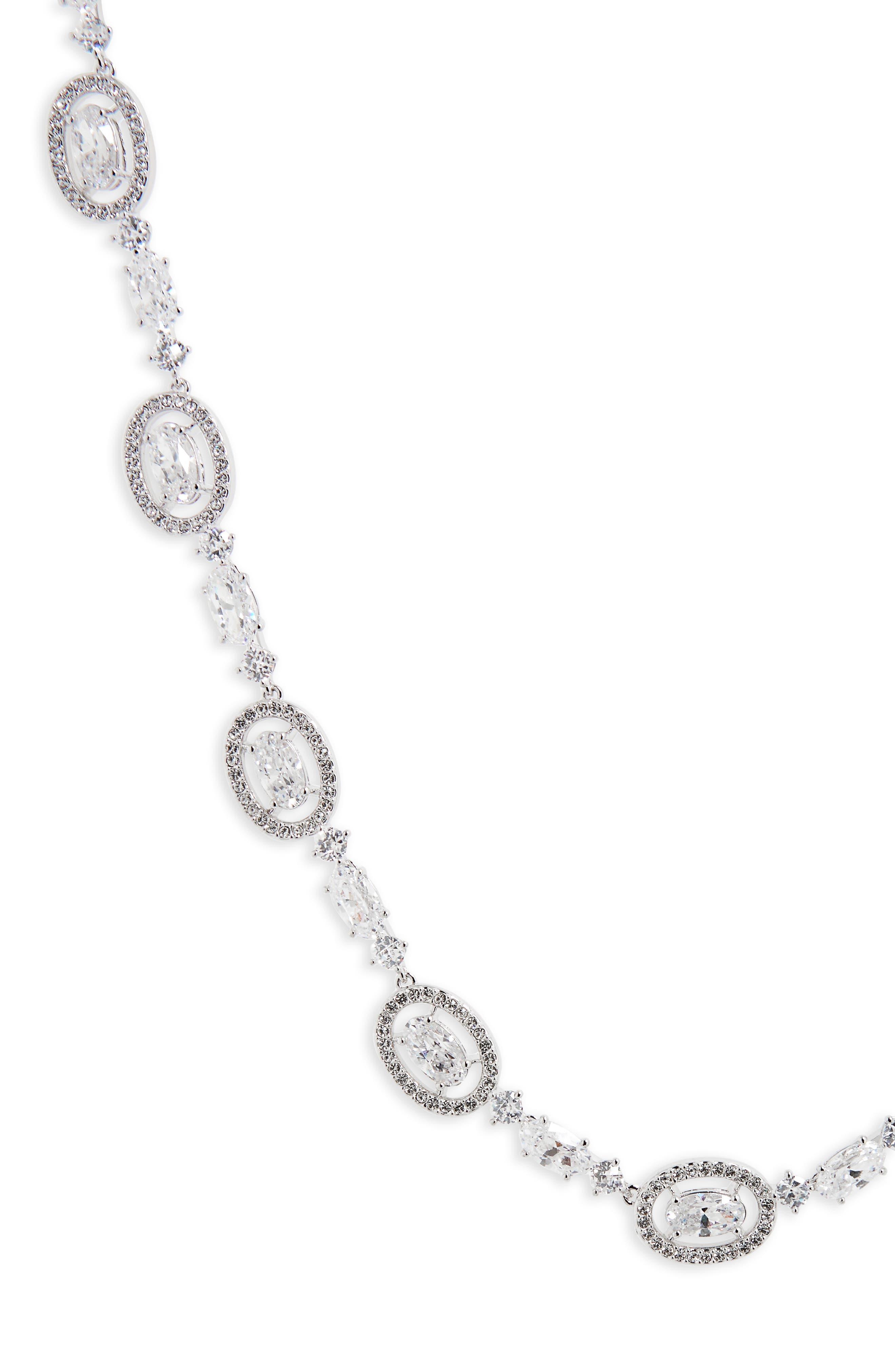 Oval Halo Collar Necklace,                             Main thumbnail 1, color,                             SILVER