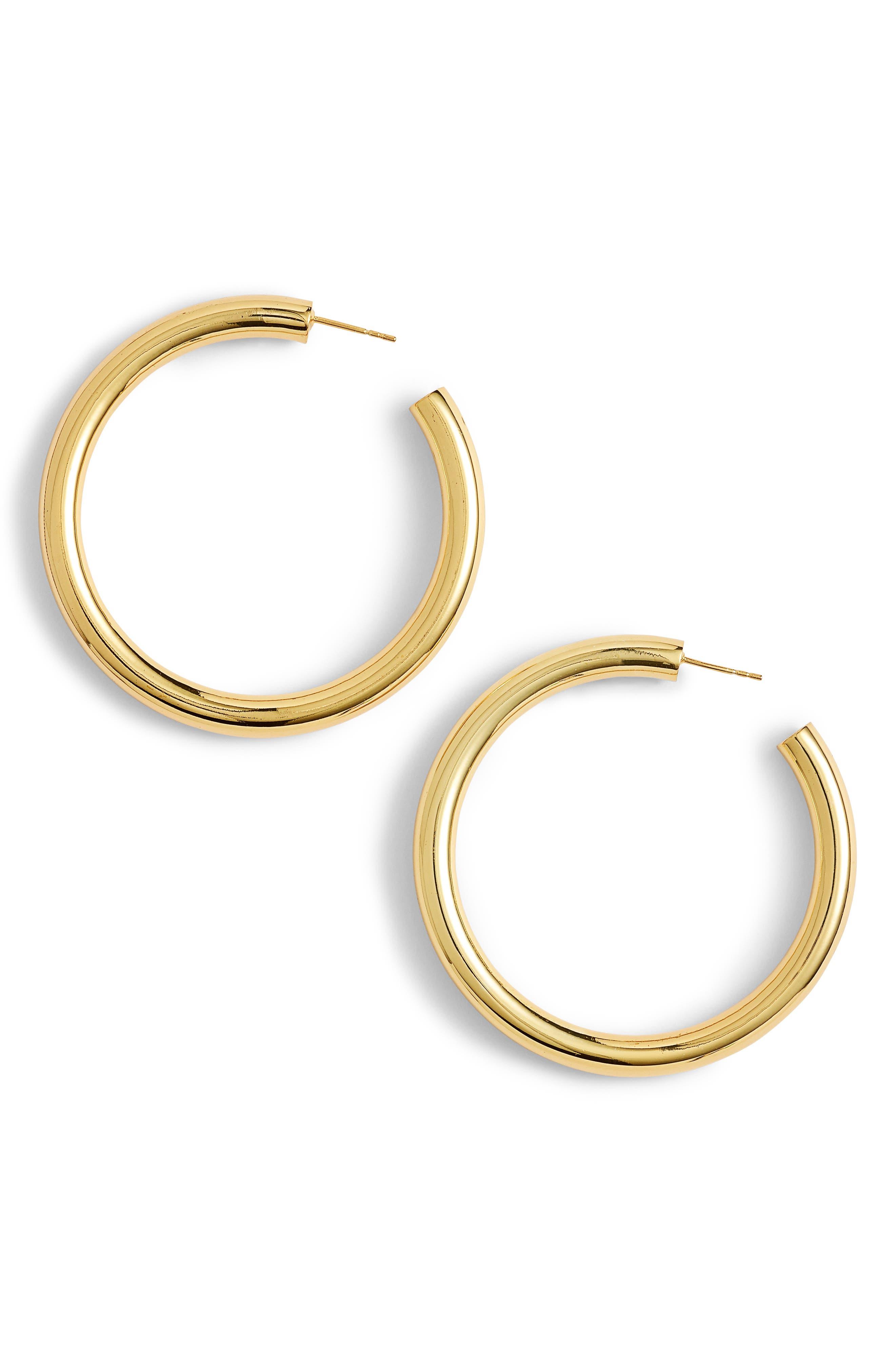 Hollow Hoop Earrings,                         Main,                         color, GOLD