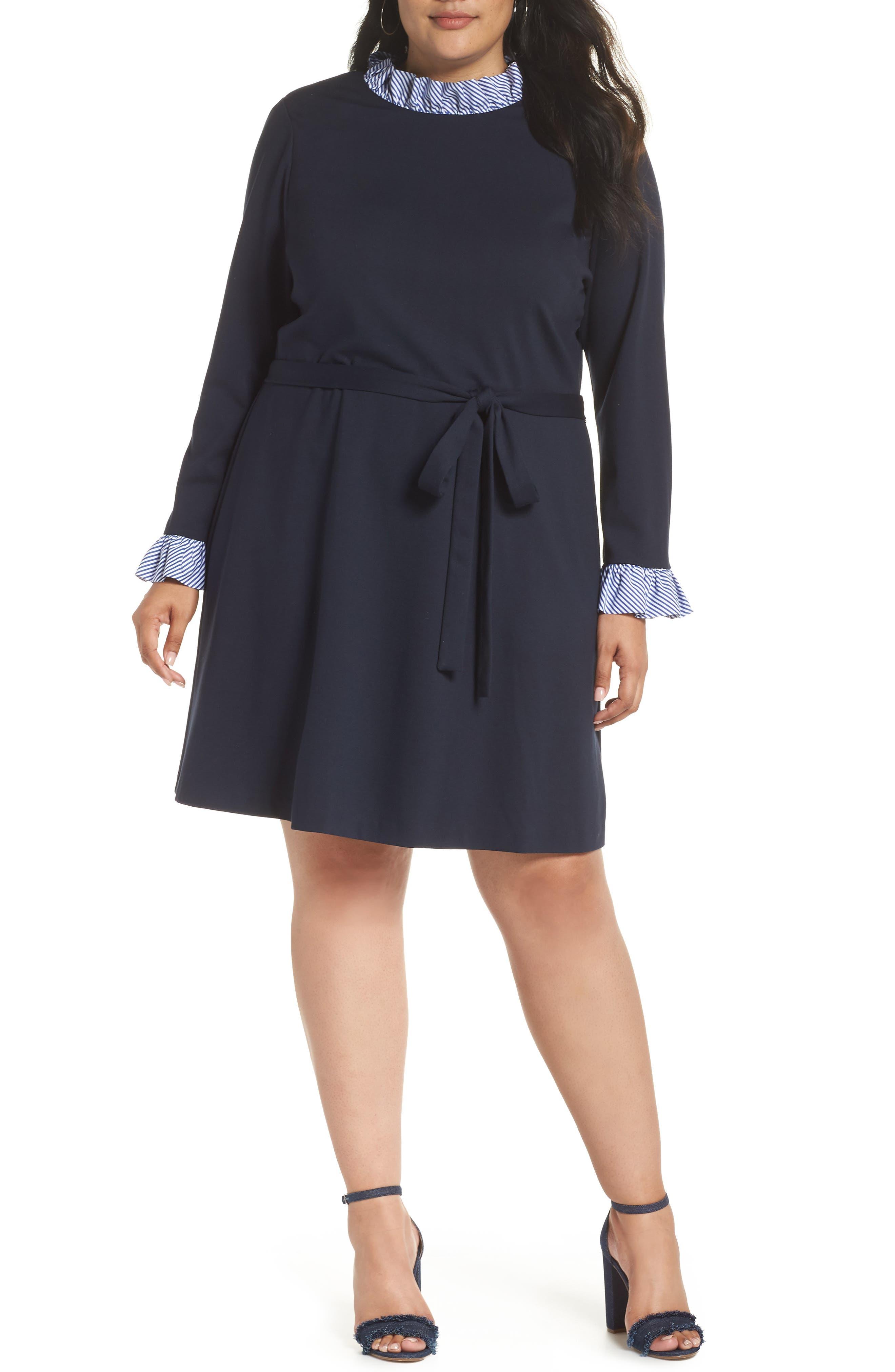 Long Sleeve Ruffle Detail Shirtdress,                             Alternate thumbnail 2, color,                             NAVY