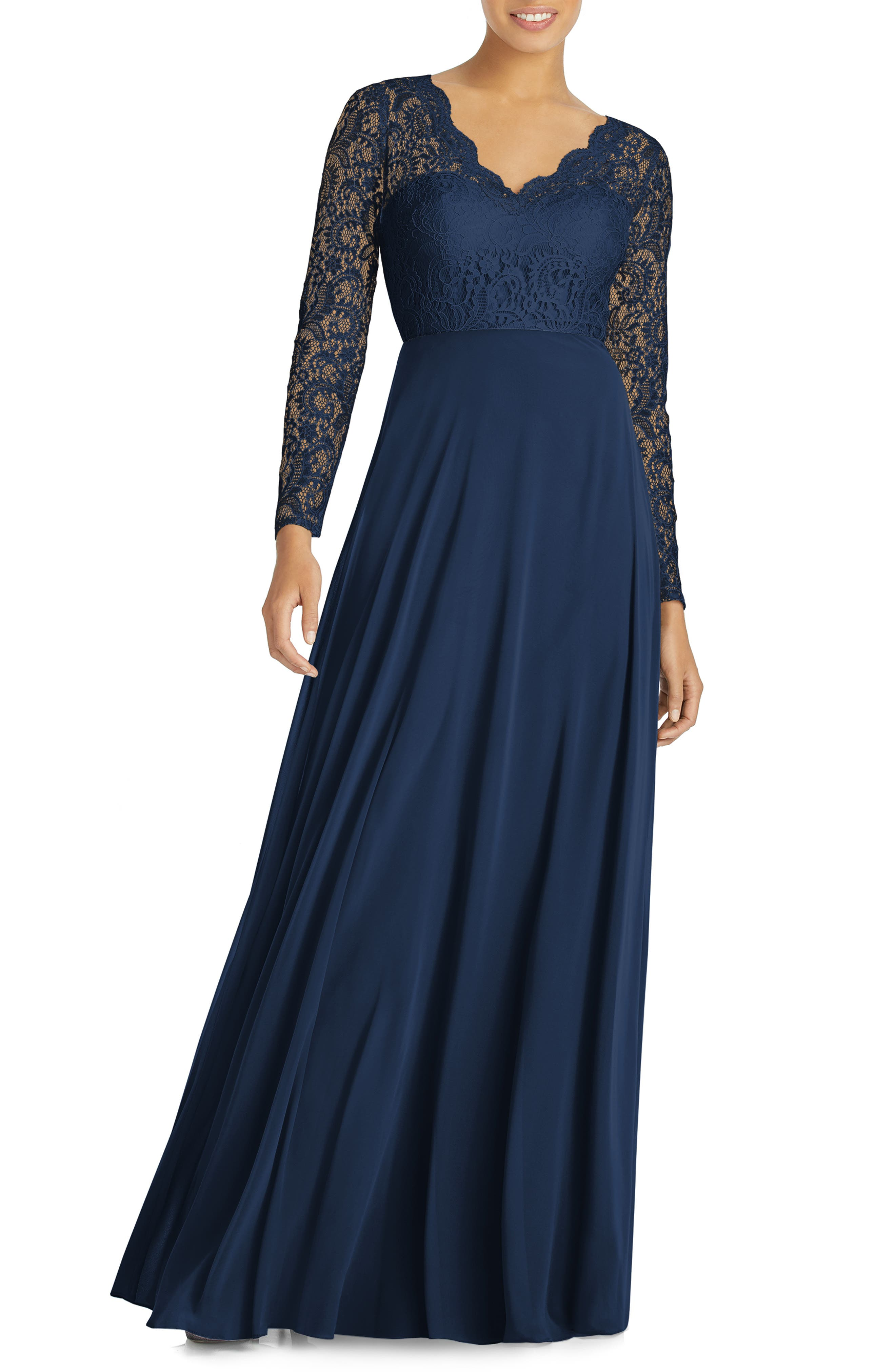 Dessy Collection Long Sleeve Lace & Chiffon Gown, Blue