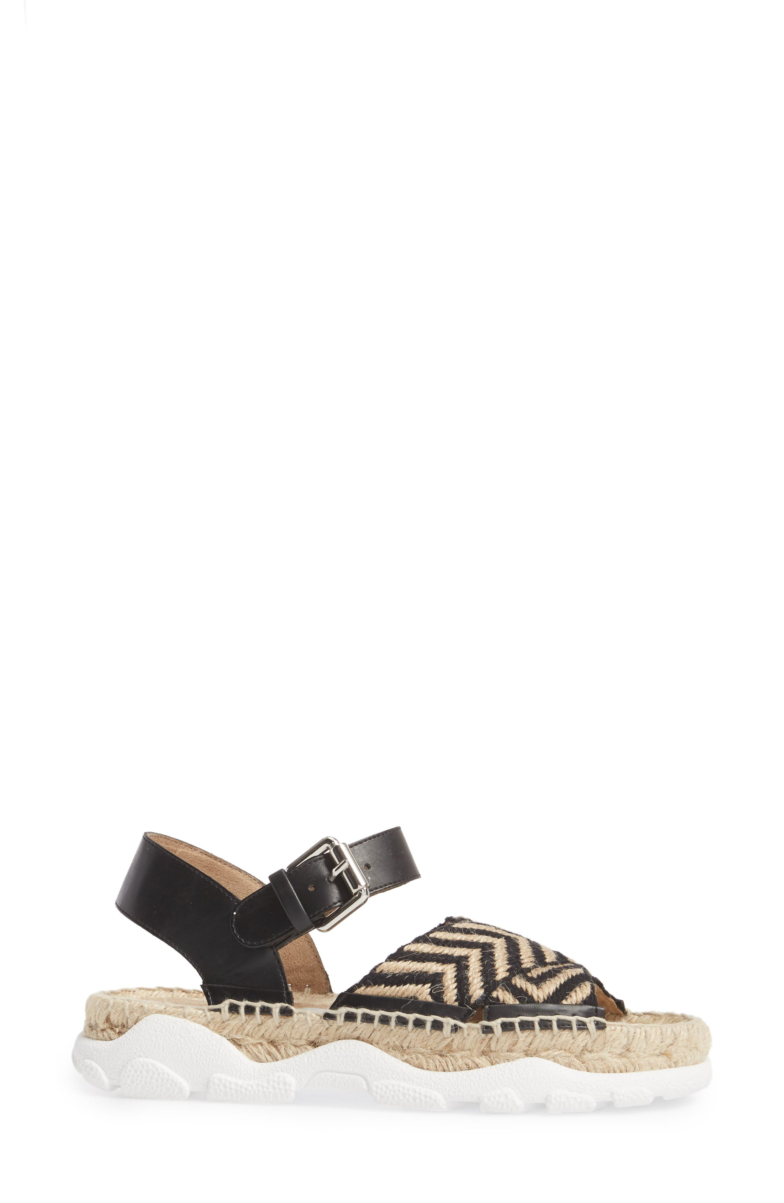 Grooved Chevron Sandal,                             Alternate thumbnail 3, color,                             007